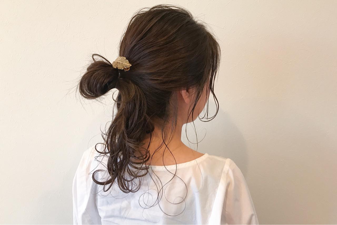 お団子 ハイライト ナチュラル 外国人風 ヘアスタイルや髪型の写真・画像