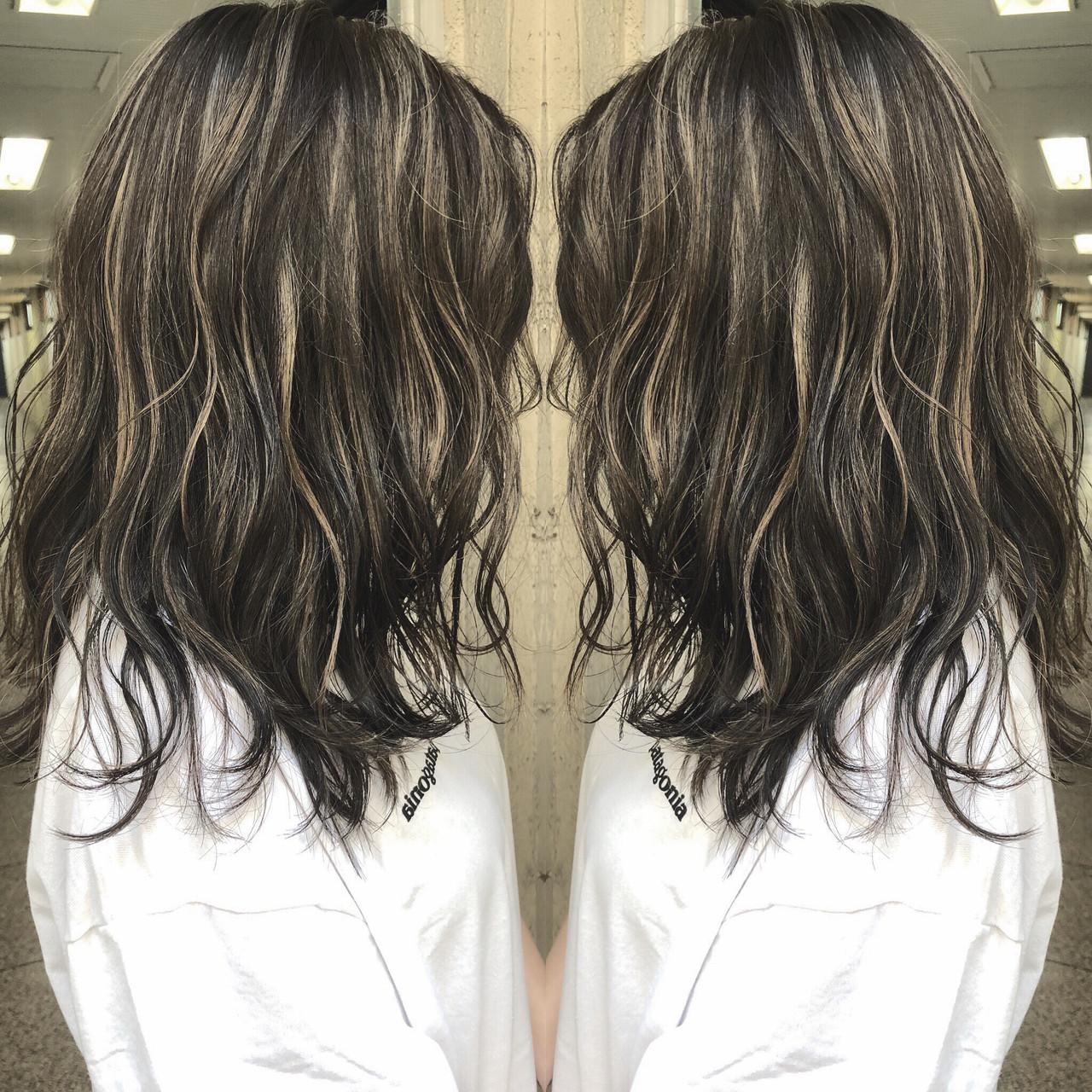グラデーションカラー セミロング 外国人風 外国人風カラー ヘアスタイルや髪型の写真・画像