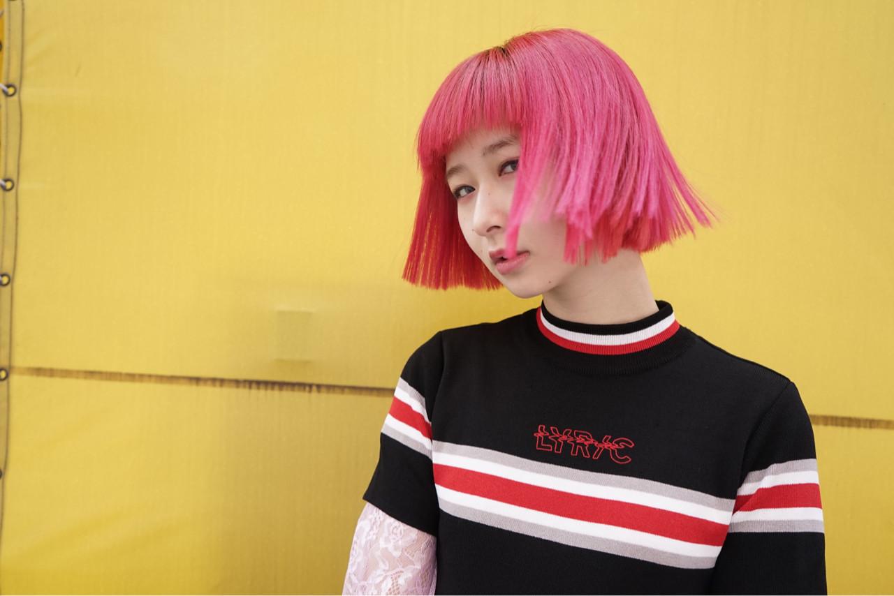 前髪あり デート ピンク モード ヘアスタイルや髪型の写真・画像 | 花井啓好 / mateca hairマテカヘアー