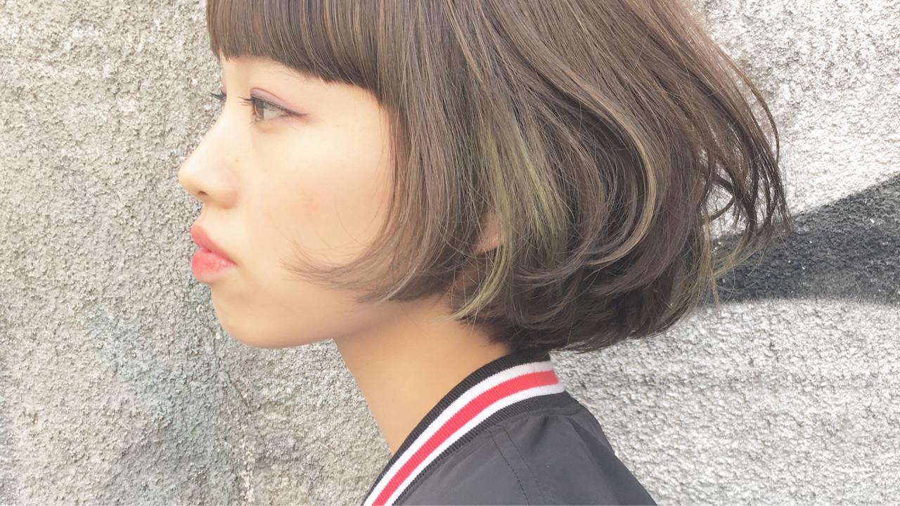 前髪あり ストリート アッシュ インナーカラー ヘアスタイルや髪型の写真・画像