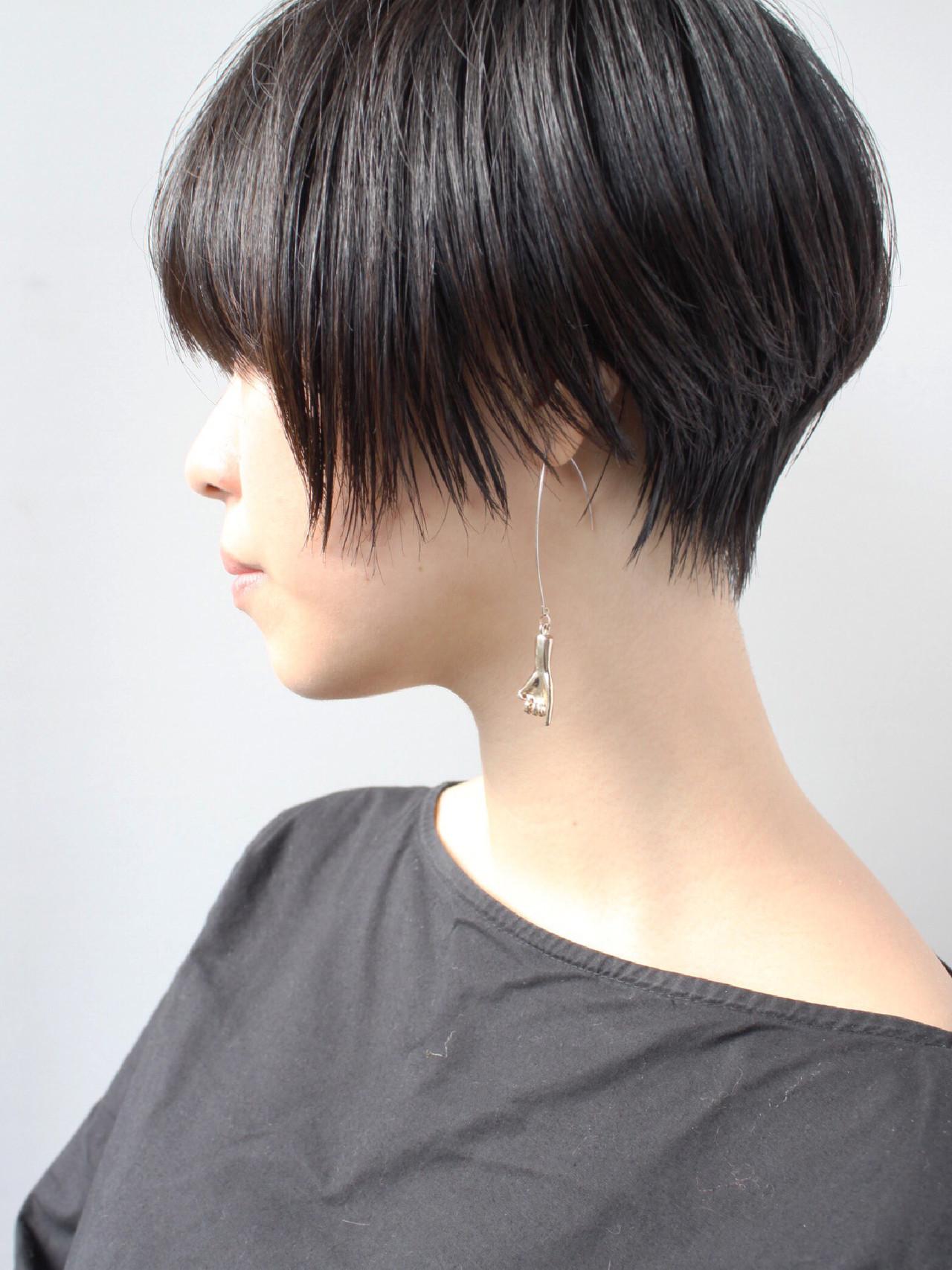 ショート ショートボブ エレガント 黒髪 ヘアスタイルや髪型の写真・画像