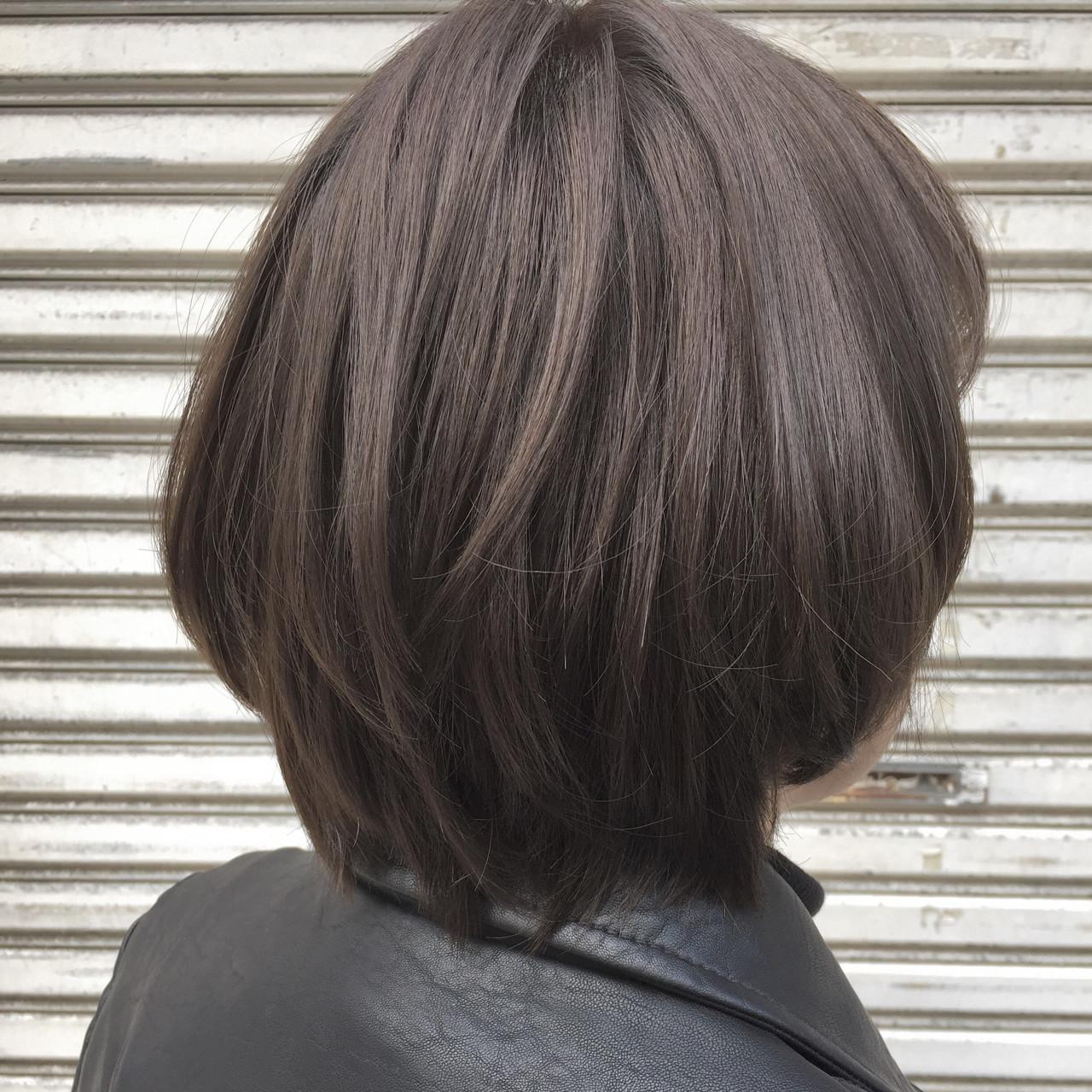 アッシュ ハイライト ボブ 色気 ヘアスタイルや髪型の写真・画像
