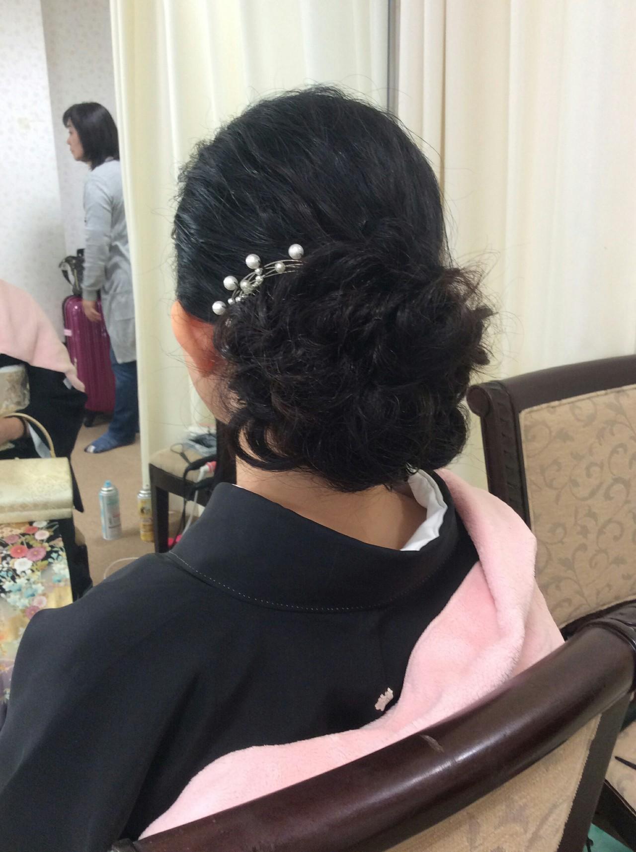 結婚式 色留袖 セミロング 黒留袖|リンクス美容室 rumiLINKS