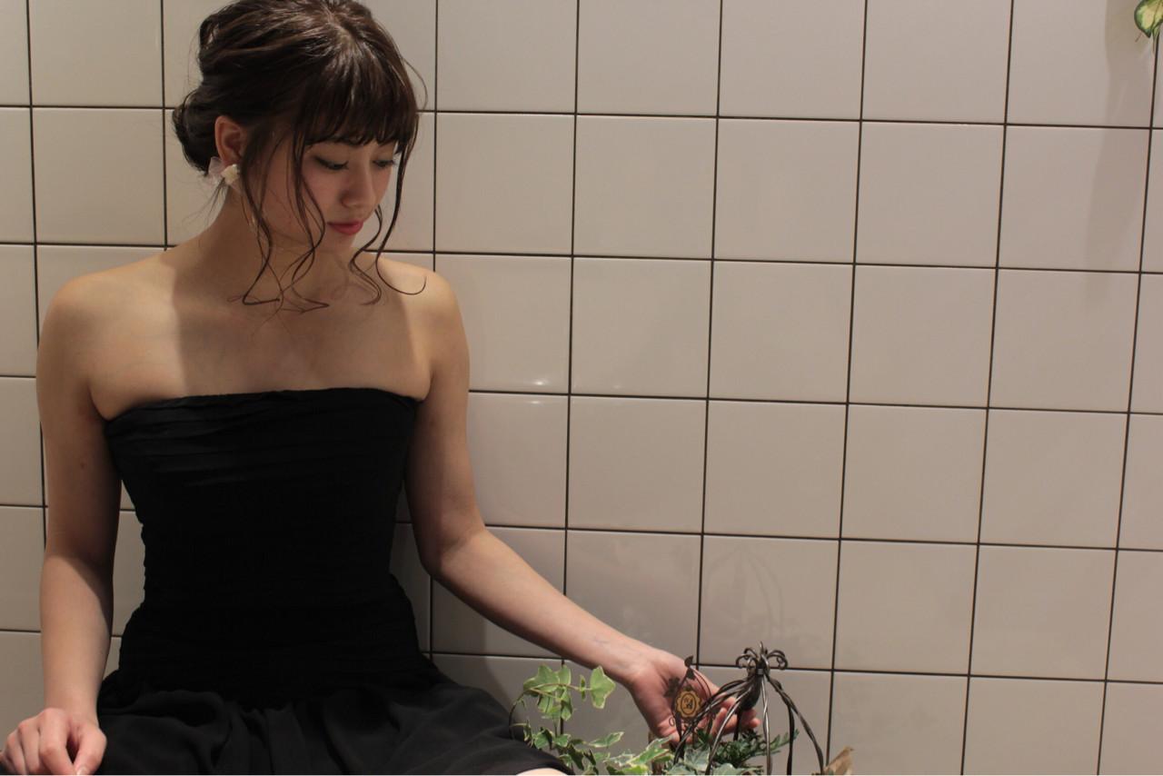 ヘアアレンジ ガーリー フェミニン ブラウン ヘアスタイルや髪型の写真・画像