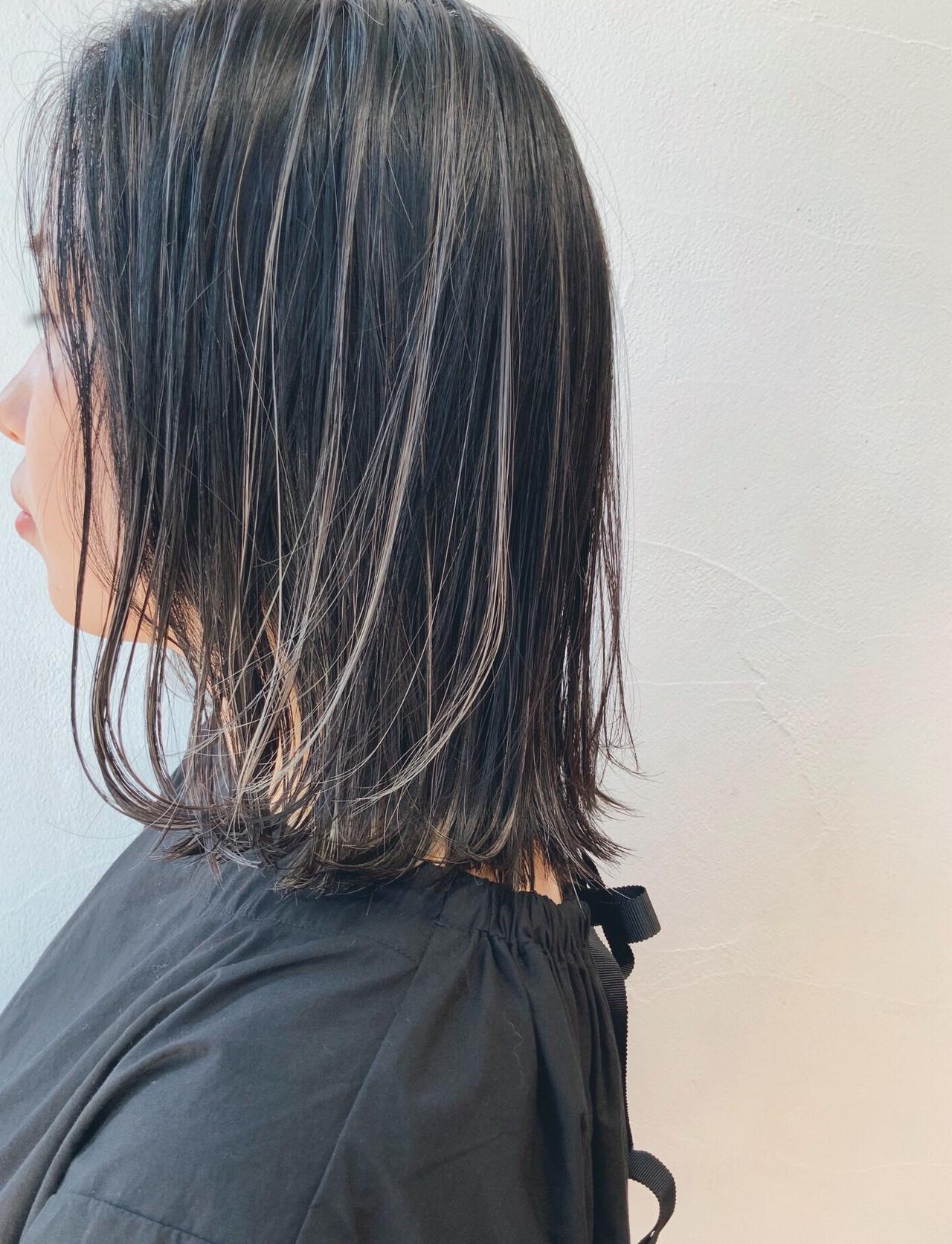 ハイライト 3Dハイライト ボブ 大人ハイライト ヘアスタイルや髪型の写真・画像