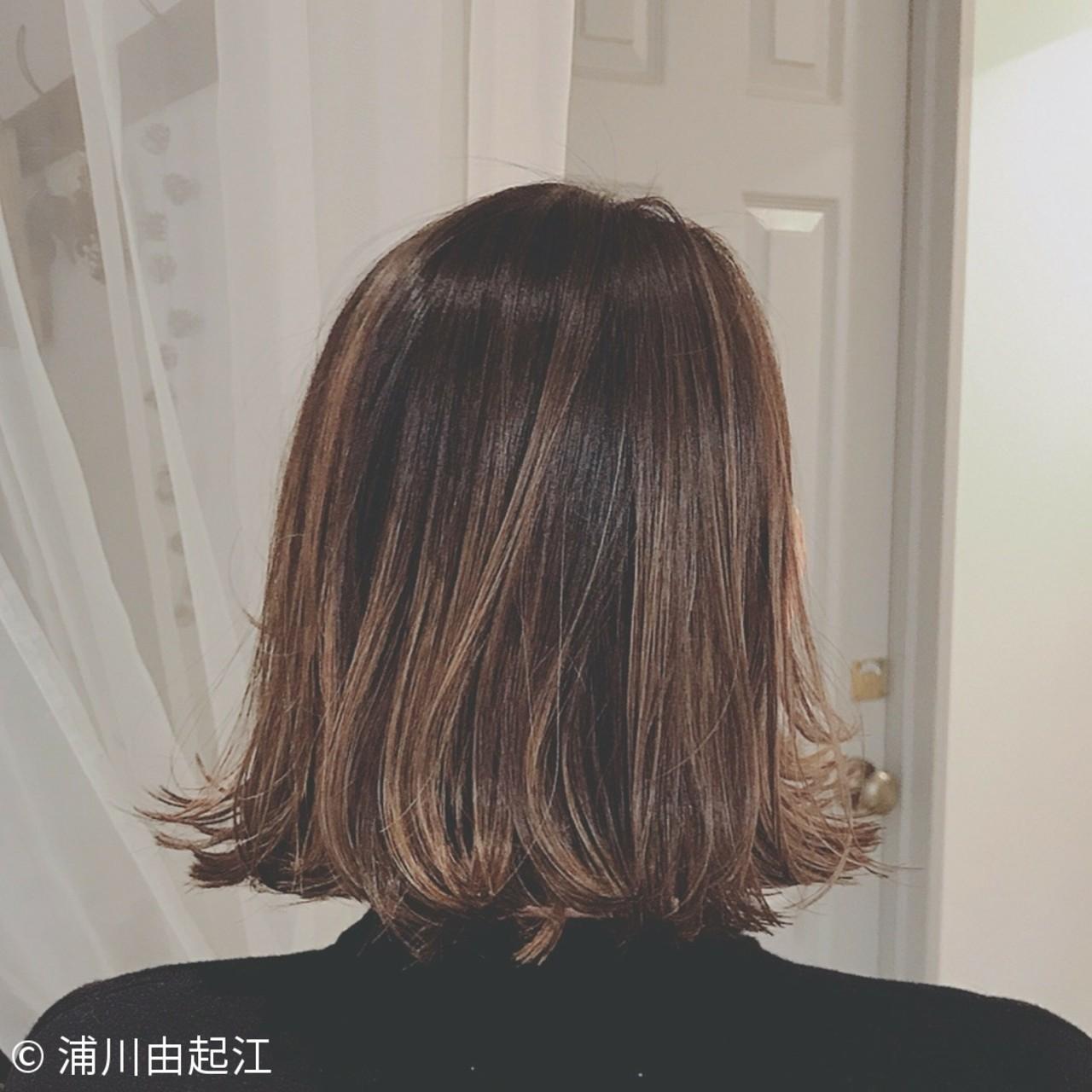 外国人風カラー デート ボブ ナチュラル ヘアスタイルや髪型の写真・画像 | 浦川由起江 / nanon