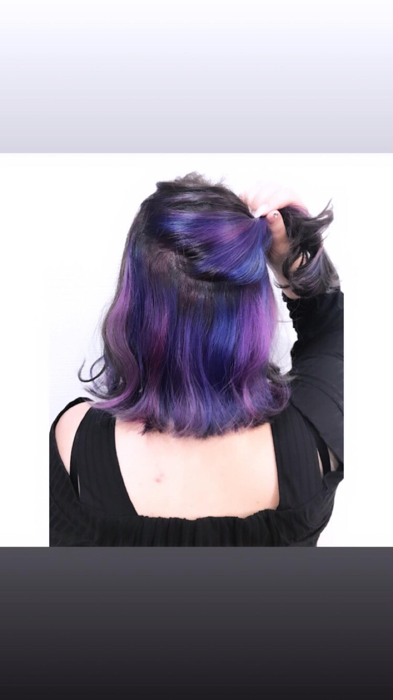 ストリート インナーカラー ミディアム ヘアアレンジ ヘアスタイルや髪型の写真・画像