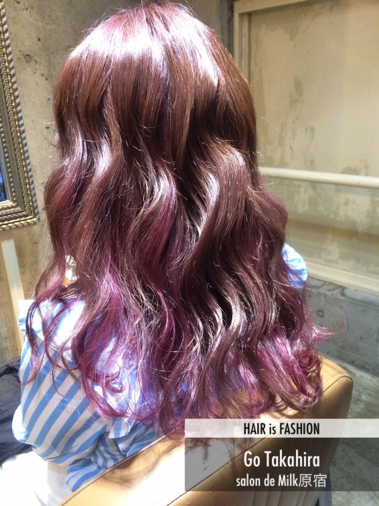 グラデーションカラー ストリート ガーリー ピンク ヘアスタイルや髪型の写真・画像   Go Takahira / salon de Milk原宿