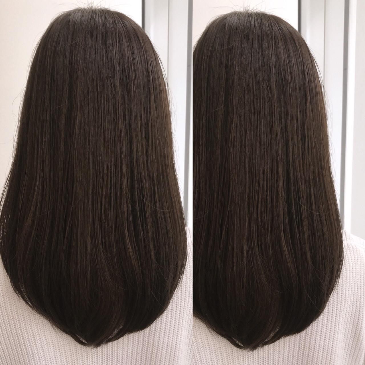 ラベンダー ロング アッシュグレージュ ナチュラル ヘアスタイルや髪型の写真・画像
