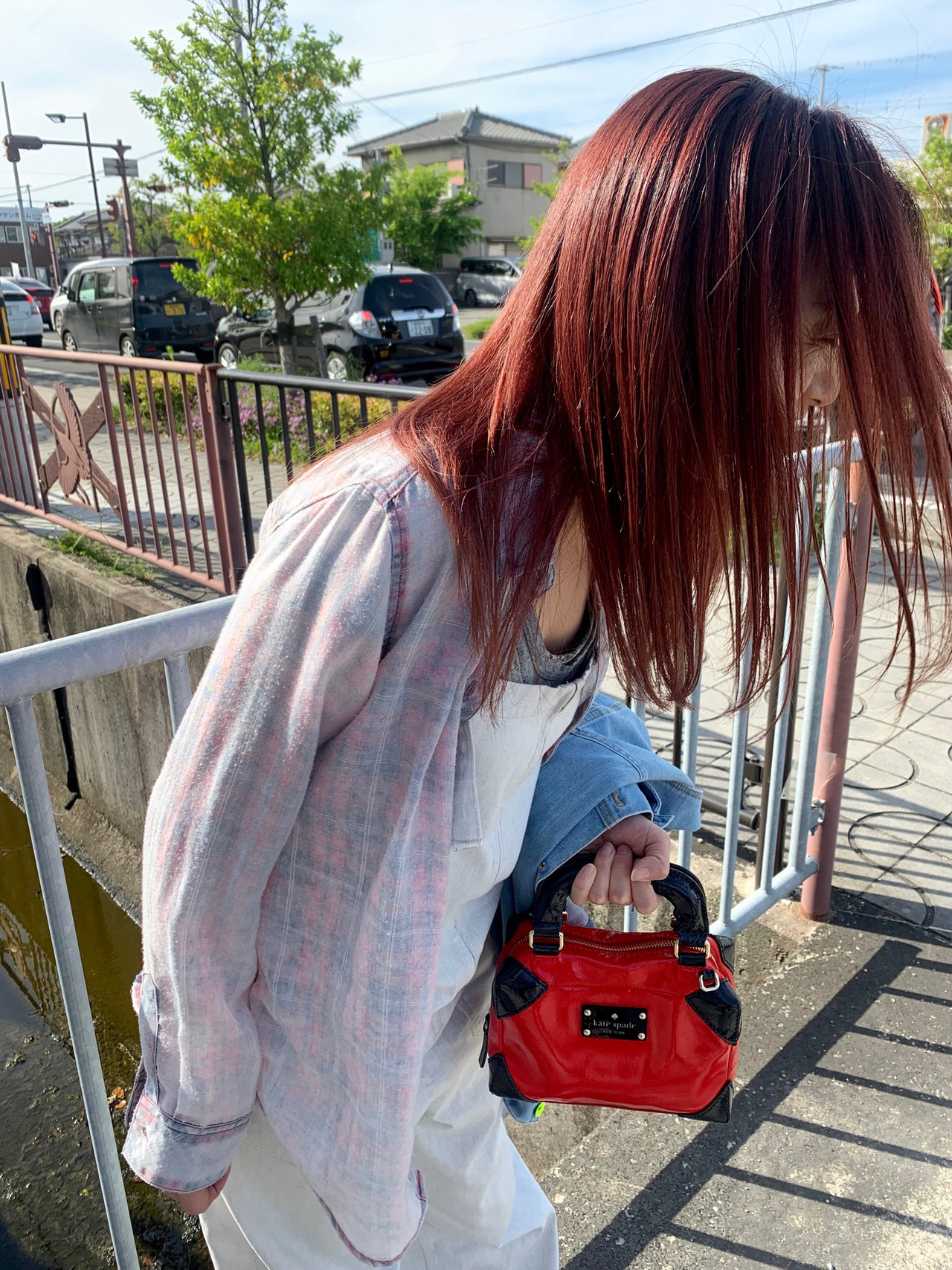ダブルカラー オレンジカラー オレンジ ロング ヘアスタイルや髪型の写真・画像