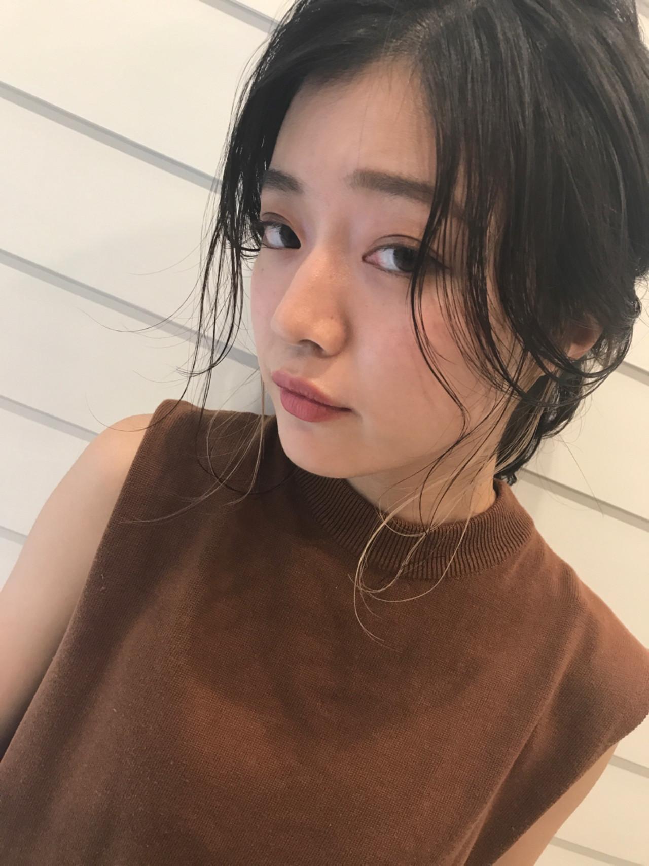 ヘアアレンジ 黒髪 簡単ヘアアレンジ セミロング ヘアスタイルや髪型の写真・画像 | Nakamura Gota / noah  parfait 銀座