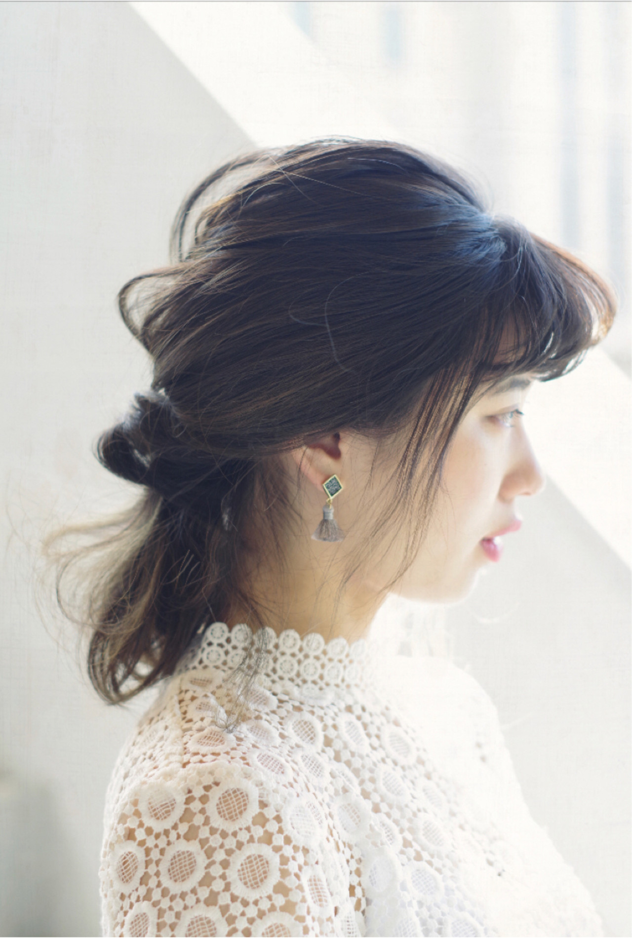 簡単ヘアアレンジ ミディアム ナチュラル 結婚式 ヘアスタイルや髪型の写真・画像