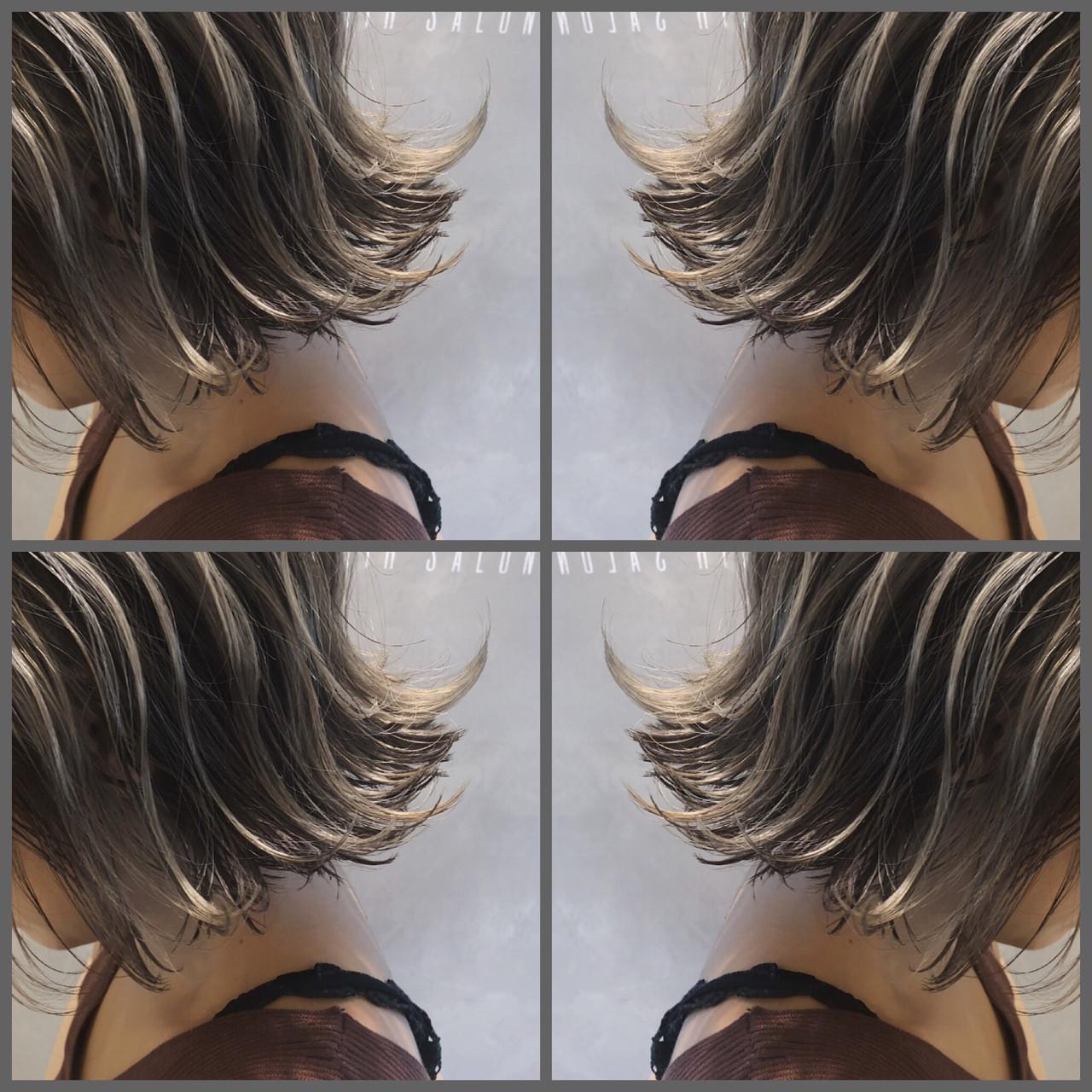 バレイヤージュ ゆるふわ ウェーブ ボブ ヘアスタイルや髪型の写真・画像 | 高沼 達也 / byトルネード / トルネード