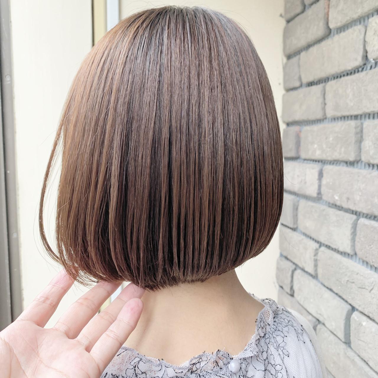 ボブ フェミニン ミニボブ 縮毛矯正 ヘアスタイルや髪型の写真・画像