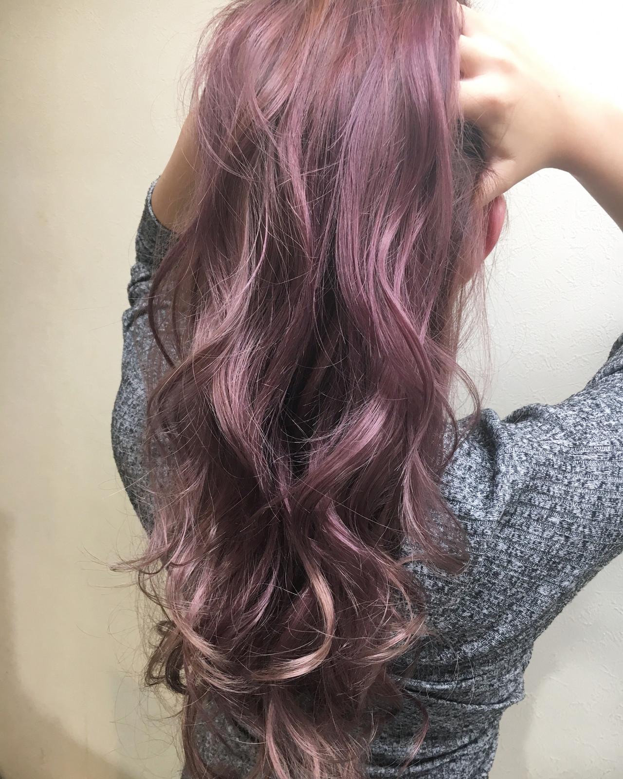 エレガント ブリーチ ハイライト パープル ヘアスタイルや髪型の写真・画像 | ヤマグチ ヒカル / Vida creative hair salon