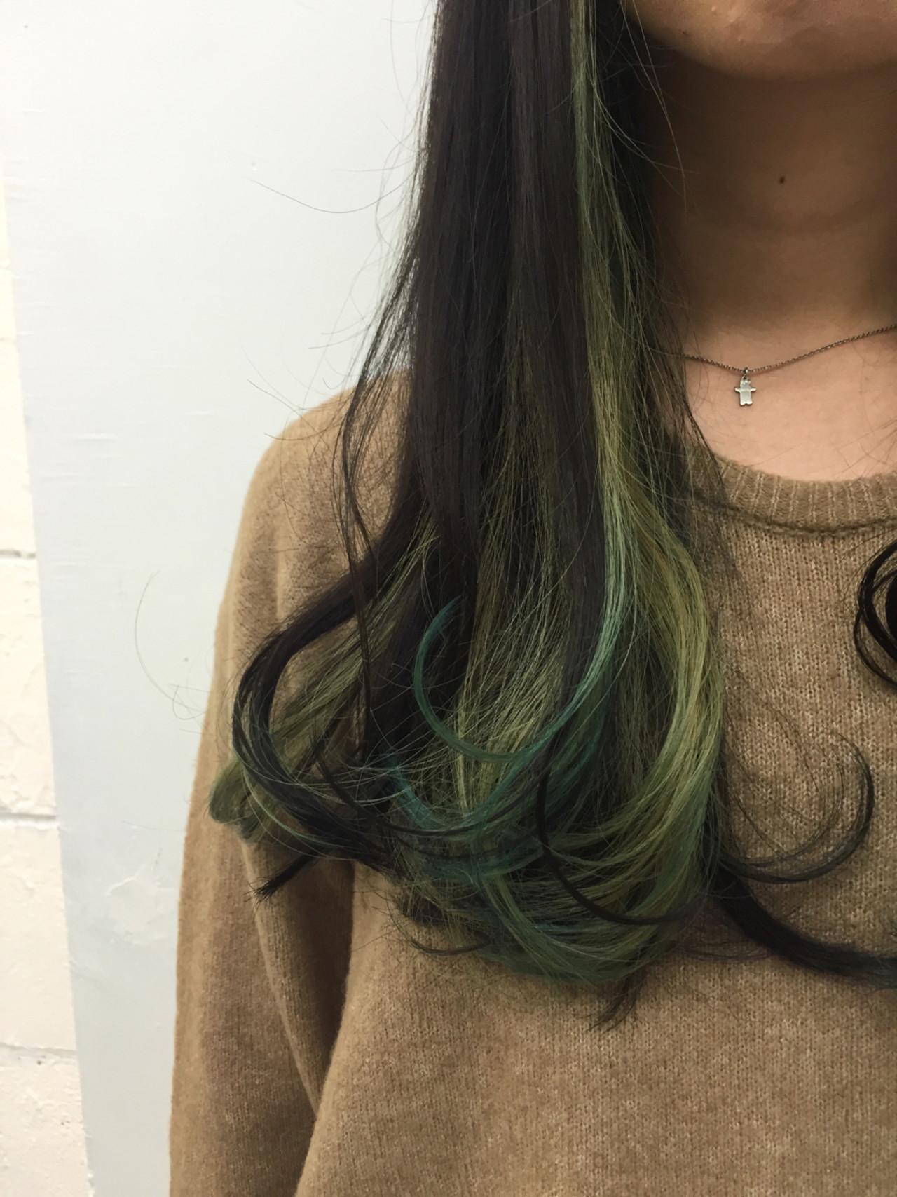 原宿系 ハイトーン ストリート インナーカラー ヘアスタイルや髪型の写真・画像
