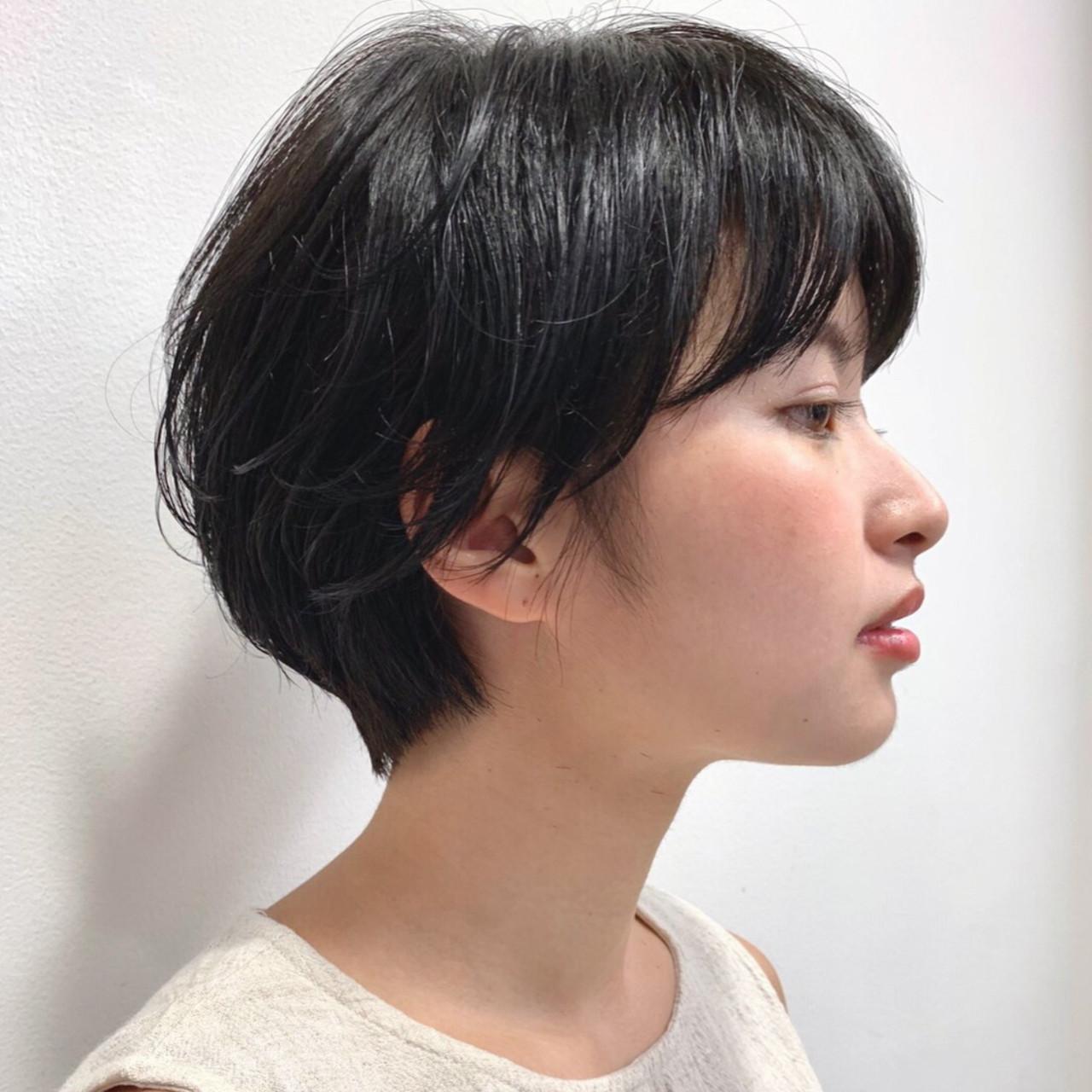 黒髪 ハンサムショート ナチュラル 就活 ヘアスタイルや髪型の写真・画像