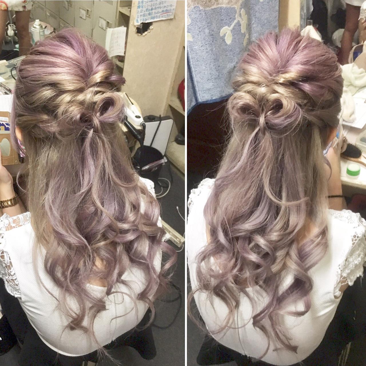 ヘアアレンジ ミディアム ガーリー ヘアスタイルや髪型の写真・画像 | a-ko / Rainbow