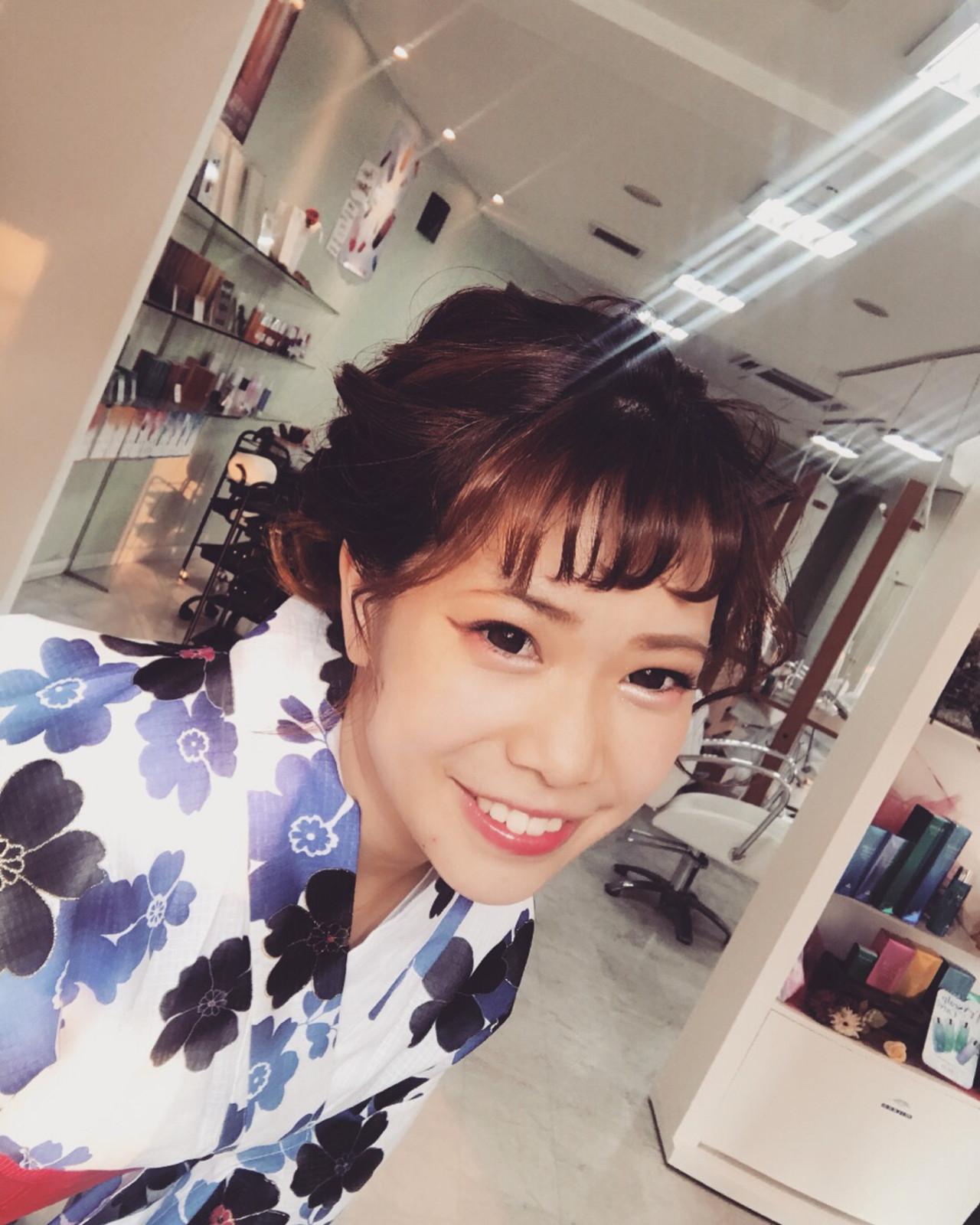 花火大会 ガーリー ミディアム 涼しげ ヘアスタイルや髪型の写真・画像 | affect・Misuzu / affect