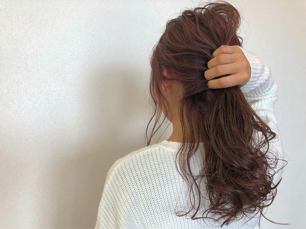 セミロング ピンクアッシュ ヘアアレンジ フェミニン ヘアスタイルや髪型の写真・画像 | 佐藤タカヒロ / Gritter