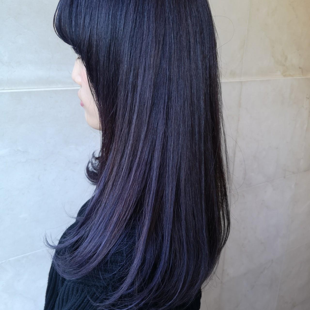グレー パープル ストリート ミディアム ヘアスタイルや髪型の写真・画像