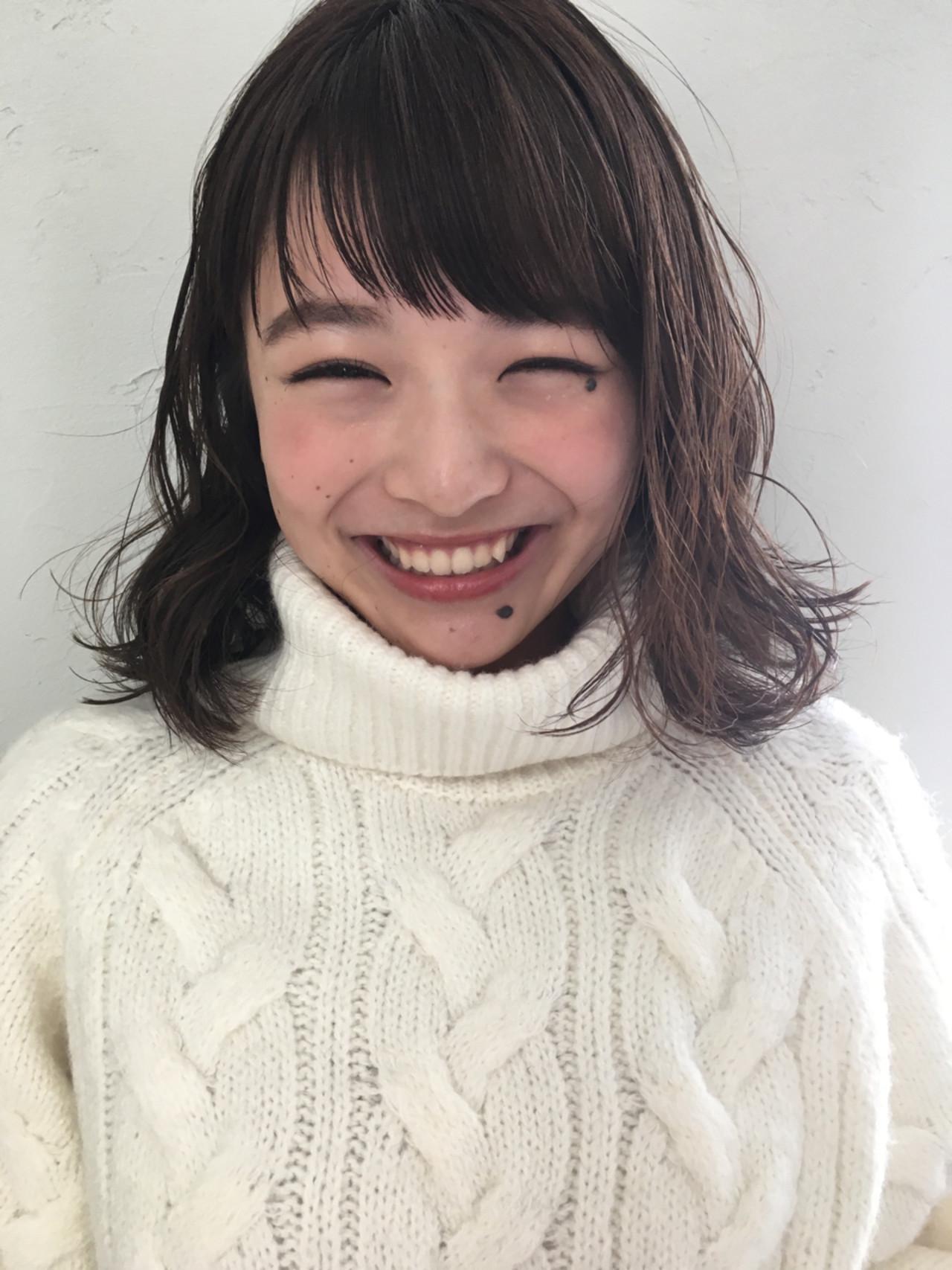 リラックス 暗髪 前髪あり パーマ ヘアスタイルや髪型の写真・画像   joemi by unami 森千里 / joemi by unami 新宿