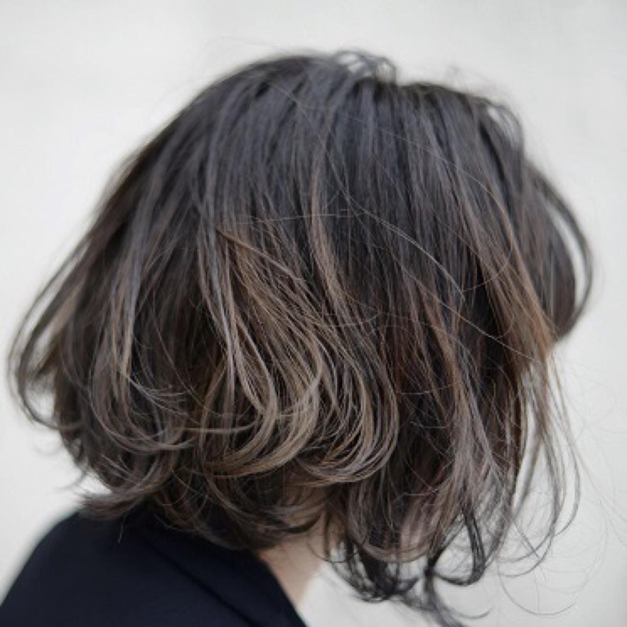 グラデーションカラー ハイライト ボブ 色気 ヘアスタイルや髪型の写真・画像 | 根岸和也 / studio menos