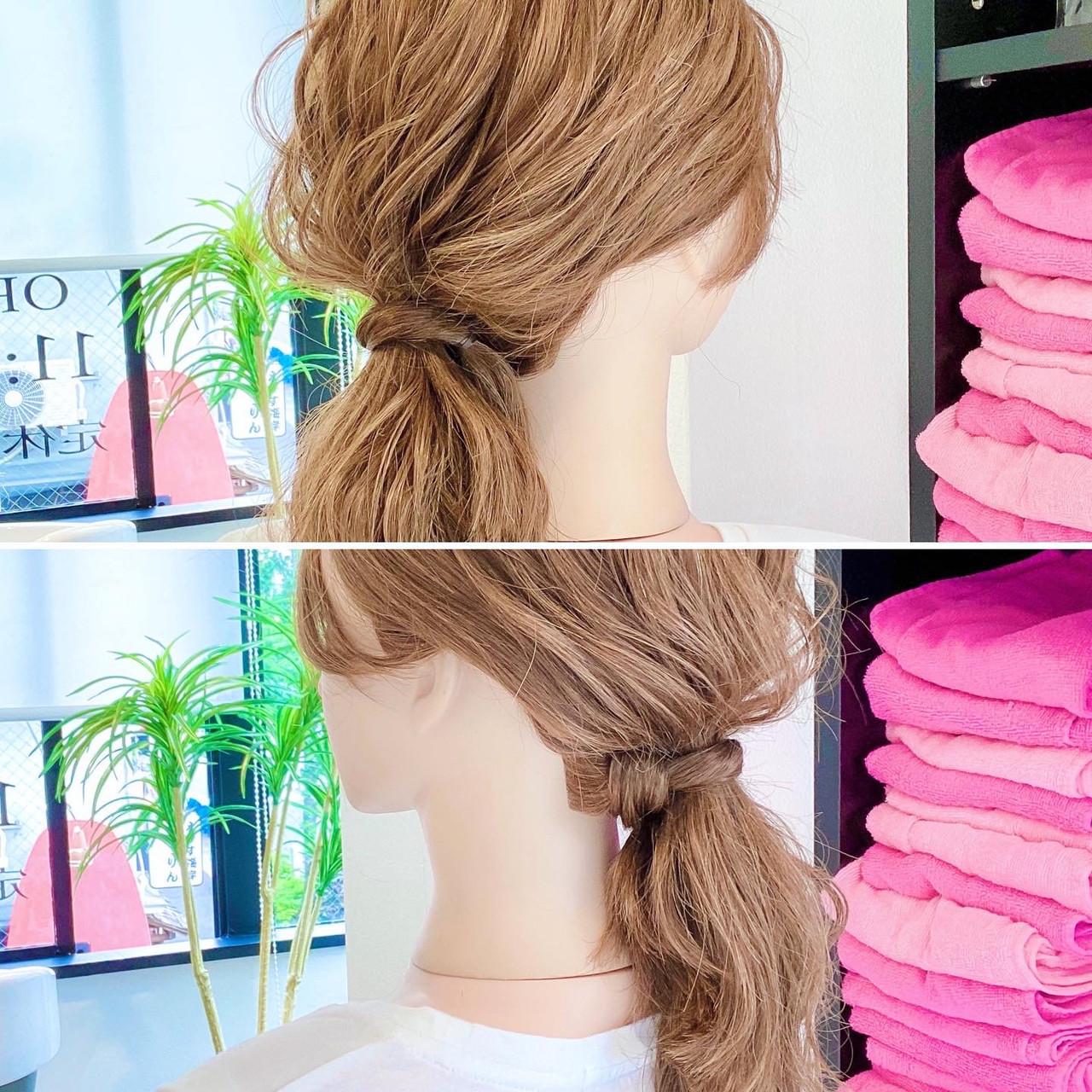 ローポニーテール 簡単ヘアアレンジ ヘアアレンジ ポニーテール ヘアスタイルや髪型の写真・画像