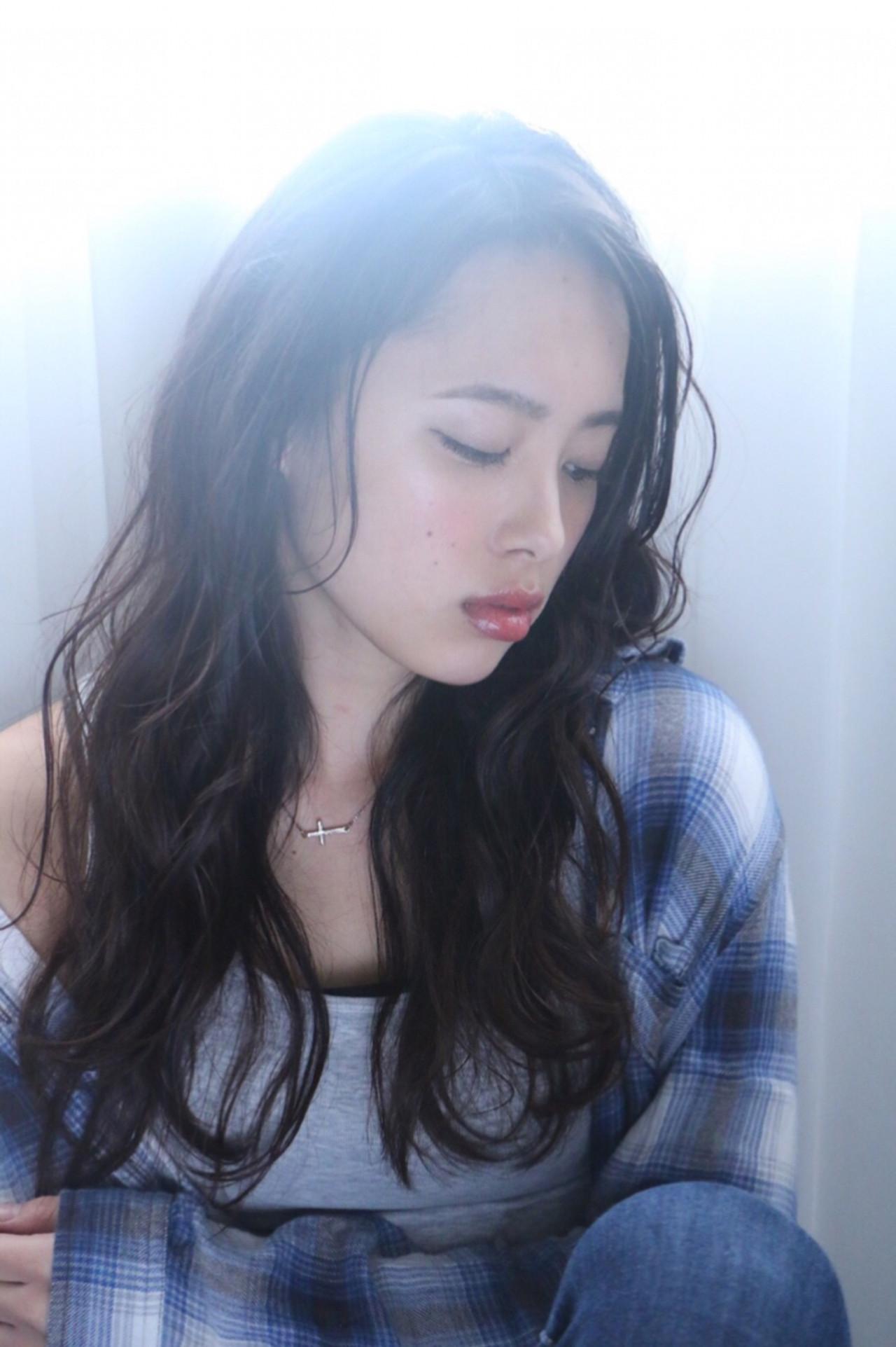 透明感 かき上げ前髪 おフェロ ナチュラル ヘアスタイルや髪型の写真・画像 | RINO /
