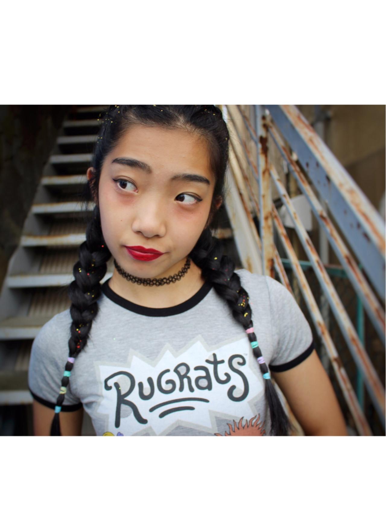 編み込み ヘアアレンジ 外国人風 簡単ヘアアレンジ ヘアスタイルや髪型の写真・画像
