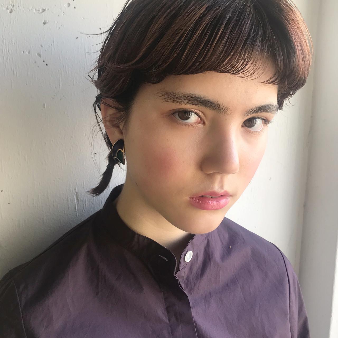 ミディアム モード 簡単ヘアアレンジ 抜け感 ヘアスタイルや髪型の写真・画像