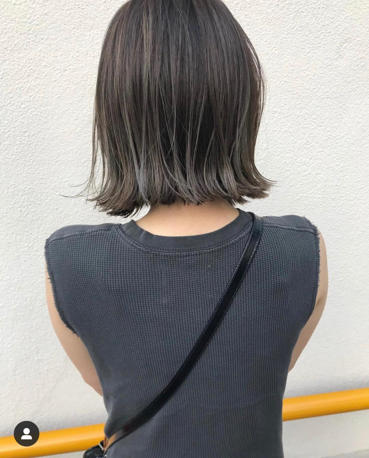 ミニボブ 切りっぱなしボブ ナチュラル ボブ ヘアスタイルや髪型の写真・画像   KENTO.NOESALON / NOE SALON