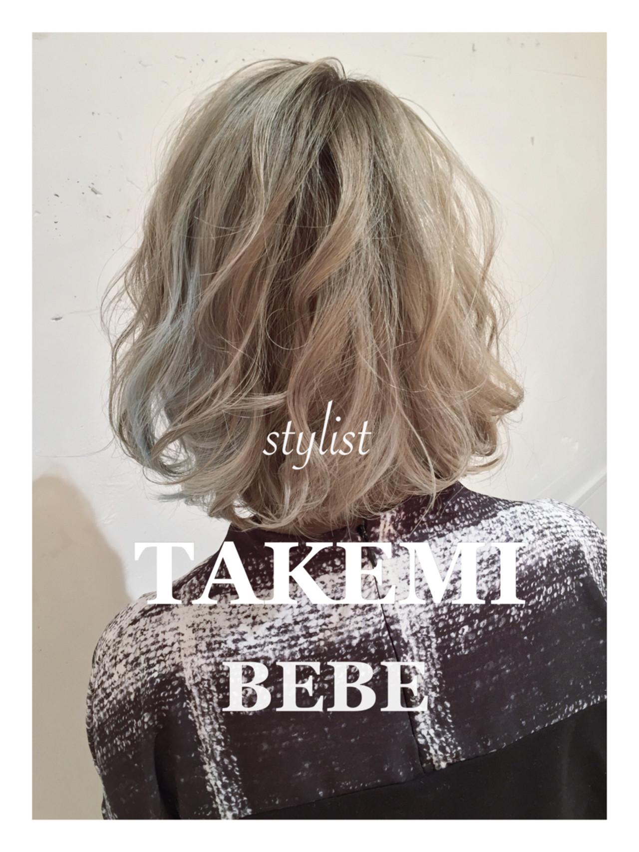 ボブ 外国人風 ハイライト アッシュ ヘアスタイルや髪型の写真・画像