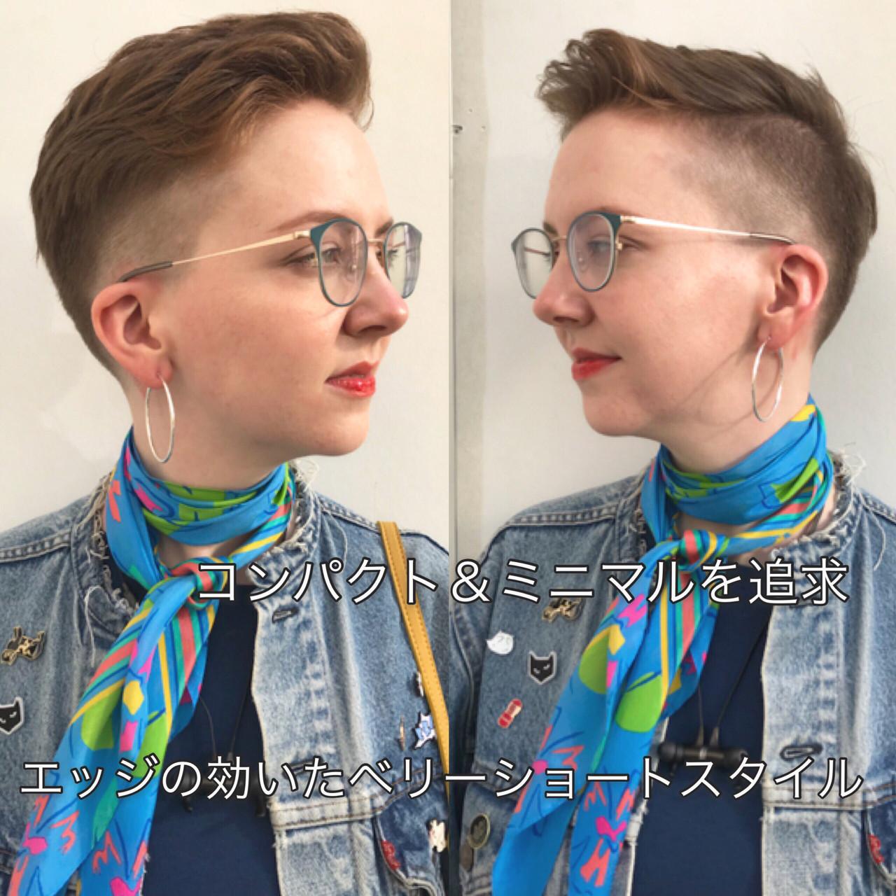 刈り上げ ボブ モード アウトドア ヘアスタイルや髪型の写真・画像