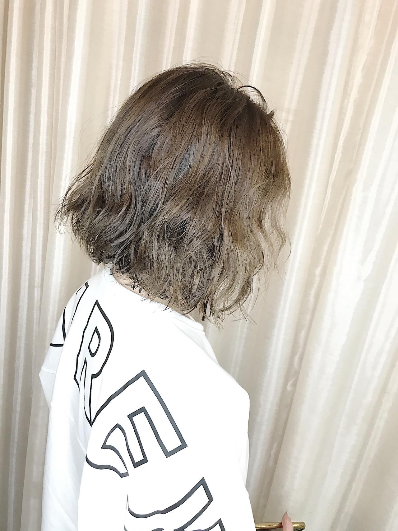 無造作パーマ ボブ パーマ ヘアスタイルや髪型の写真・画像 | 内田 一也 / hair/nail space a:le