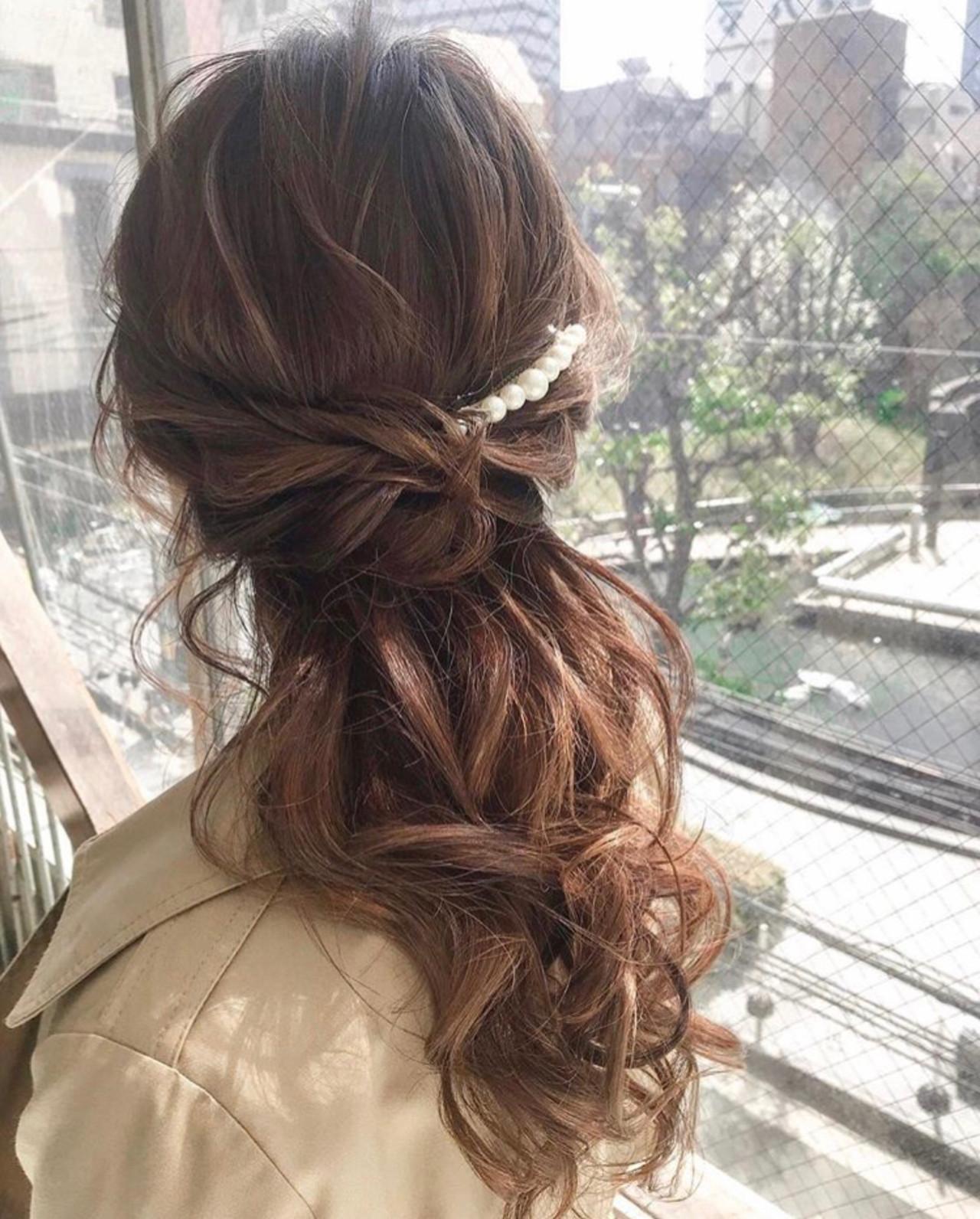 デート 簡単ヘアアレンジ ヘアアレンジ 結婚式 ヘアスタイルや髪型の写真・画像