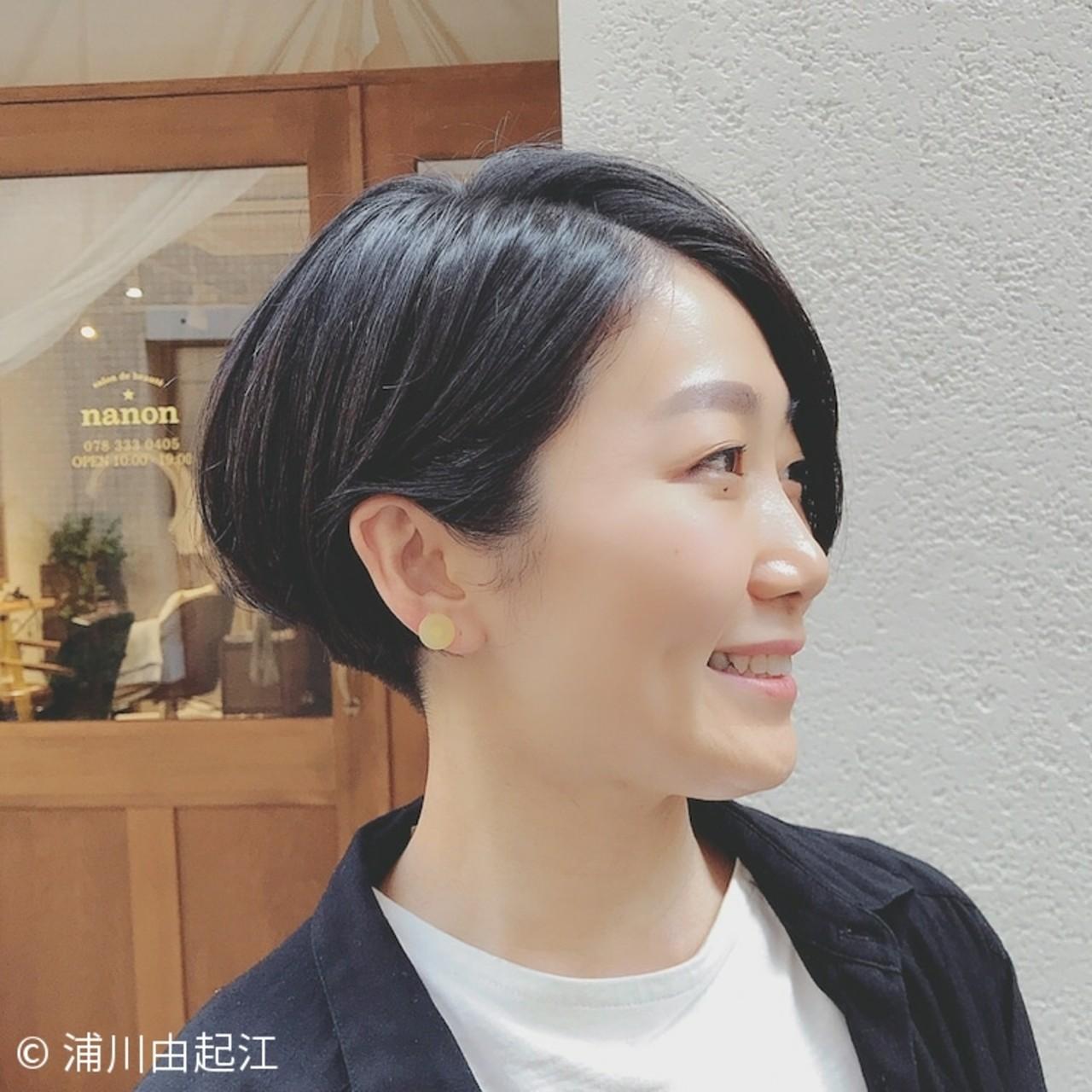 大人かわいい 黒髪 オフィス デート ヘアスタイルや髪型の写真・画像   浦川由起江 / nanon
