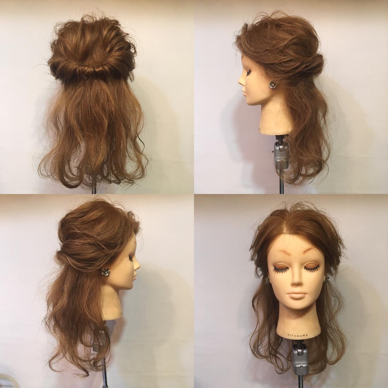 ヘアアレンジ ハーフアップ セミロング 波ウェーブ ヘアスタイルや髪型の写真・画像 | 鈴木 健太郎 / ShuKRun