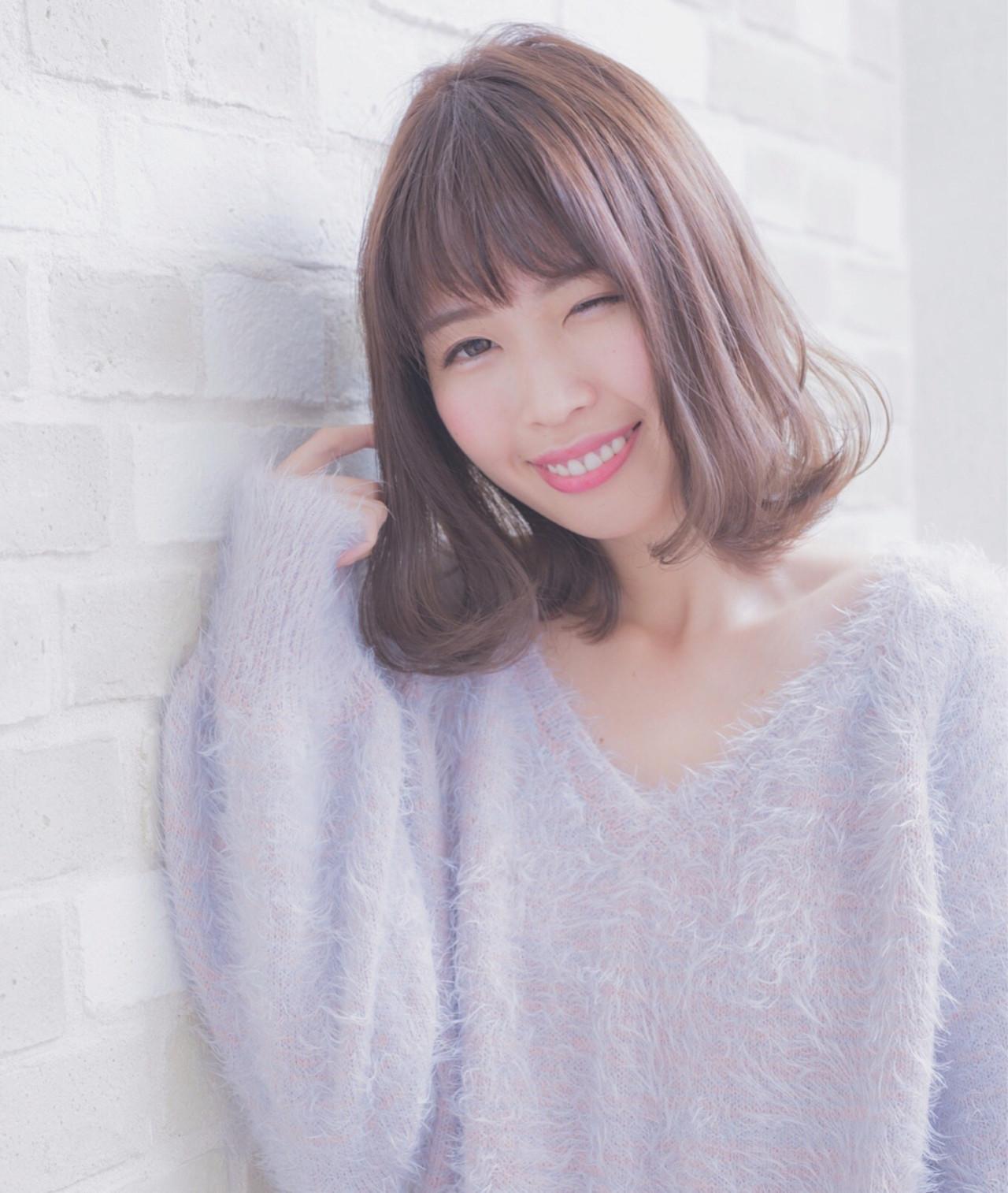 ゆるふわ フェミニン ボブ 外国人風カラー ヘアスタイルや髪型の写真・画像   黒田彩水 /