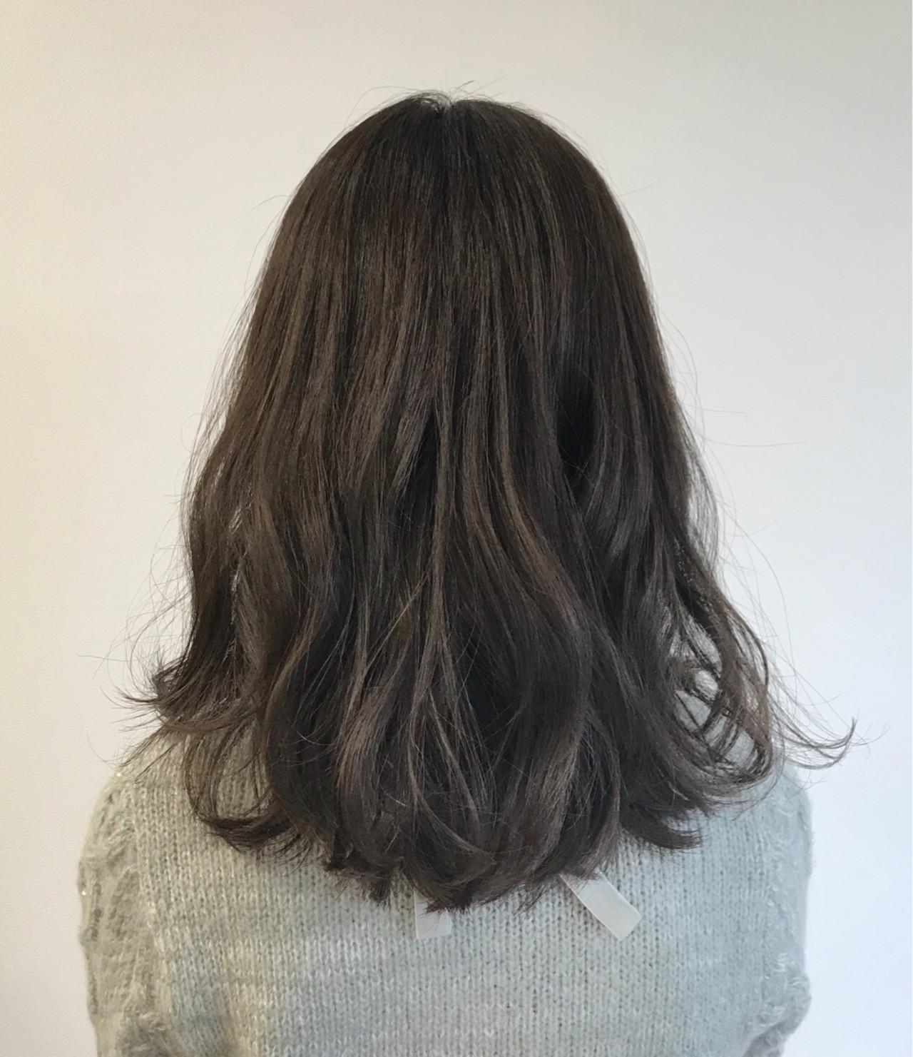 オフィス デート ガーリー セミロング ヘアスタイルや髪型の写真・画像