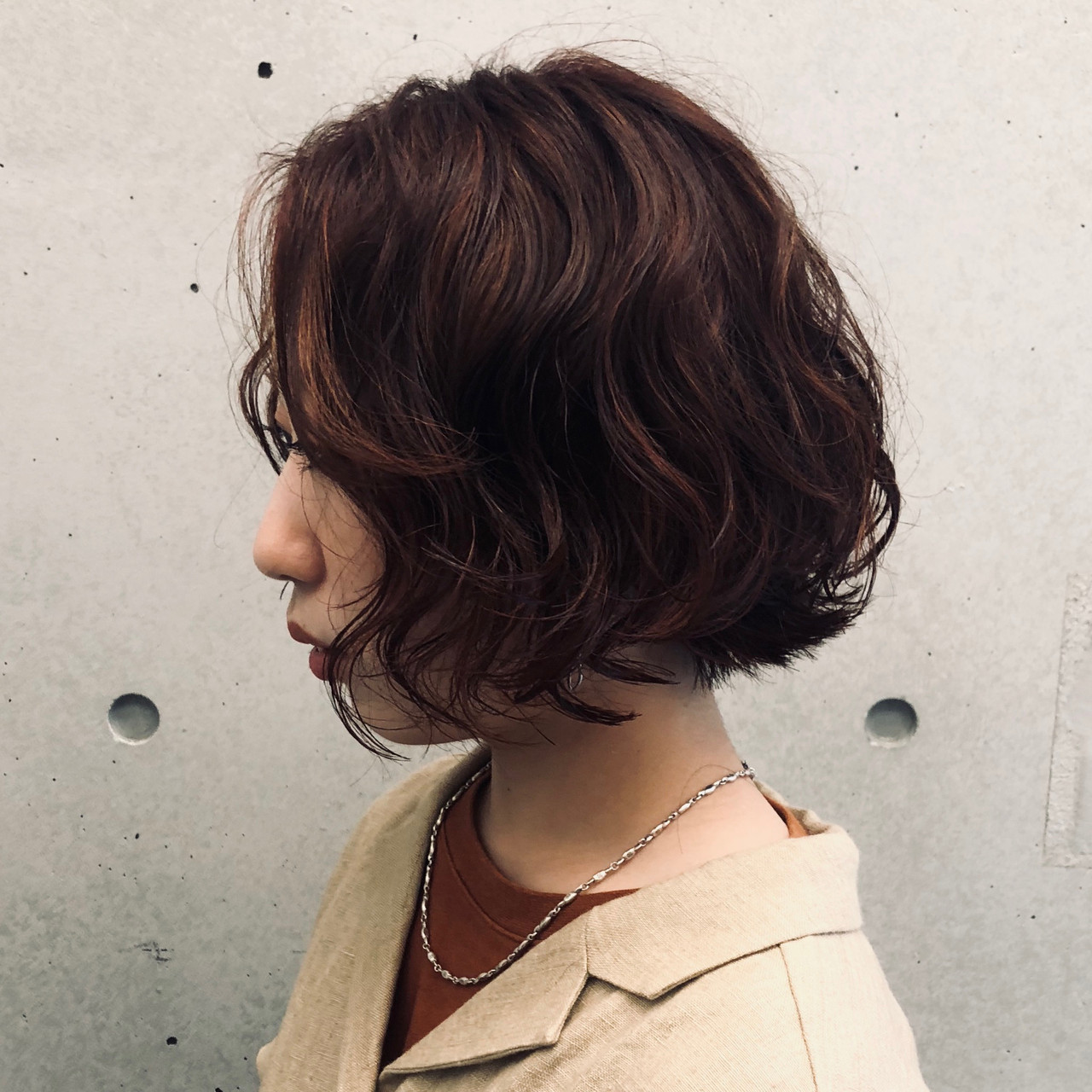 パーマ ボブ  外ハネボブ ヘアスタイルや髪型の写真・画像