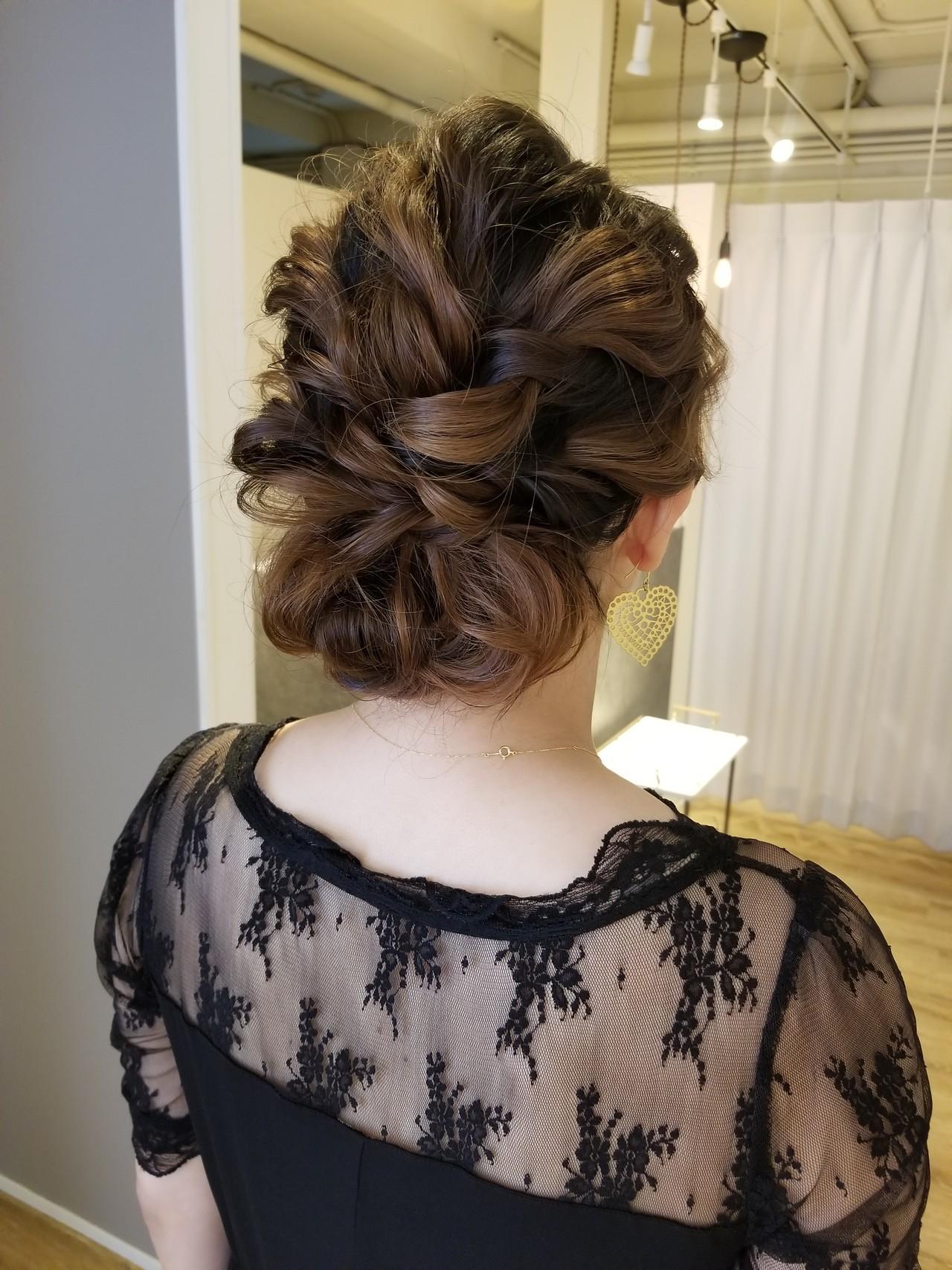 セミロング 簡単ヘアアレンジ ヘアアレンジ 結婚式 ヘアスタイルや髪型の写真・画像