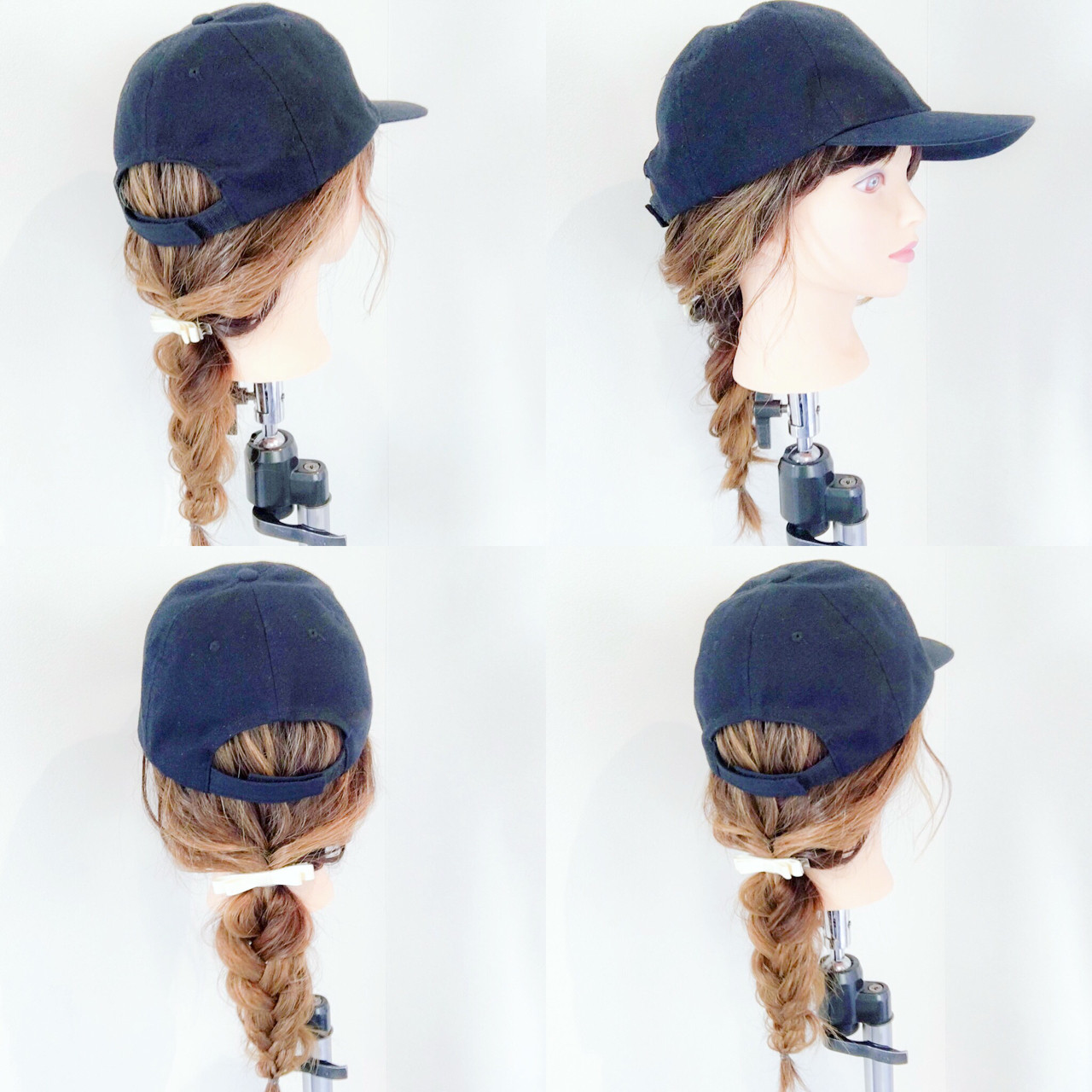 デート アウトドア ポニーテール キャップ ヘアスタイルや髪型の写真・画像
