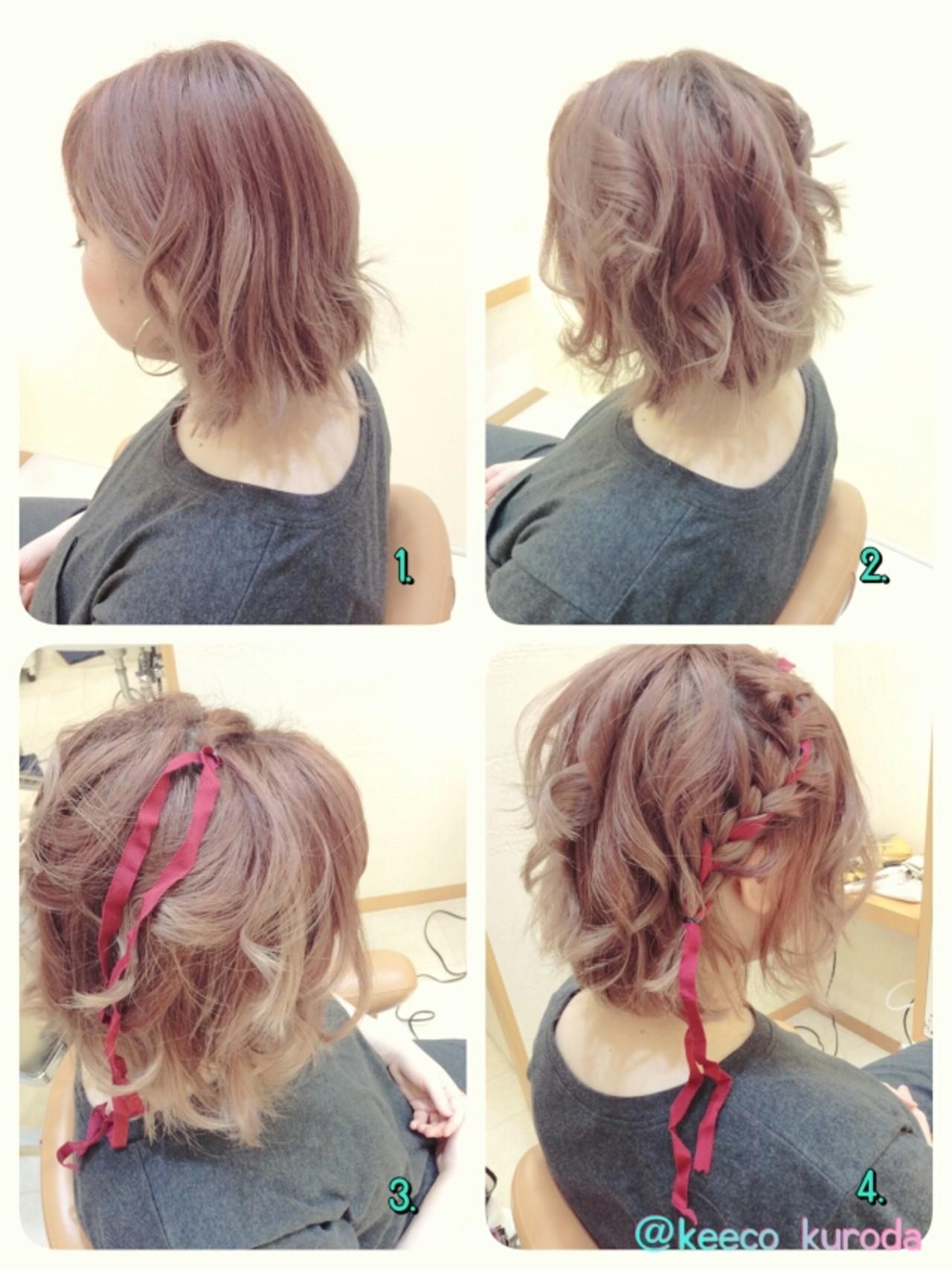 ヘアアレンジ ボブ 花火大会 夏 ヘアスタイルや髪型の写真・画像