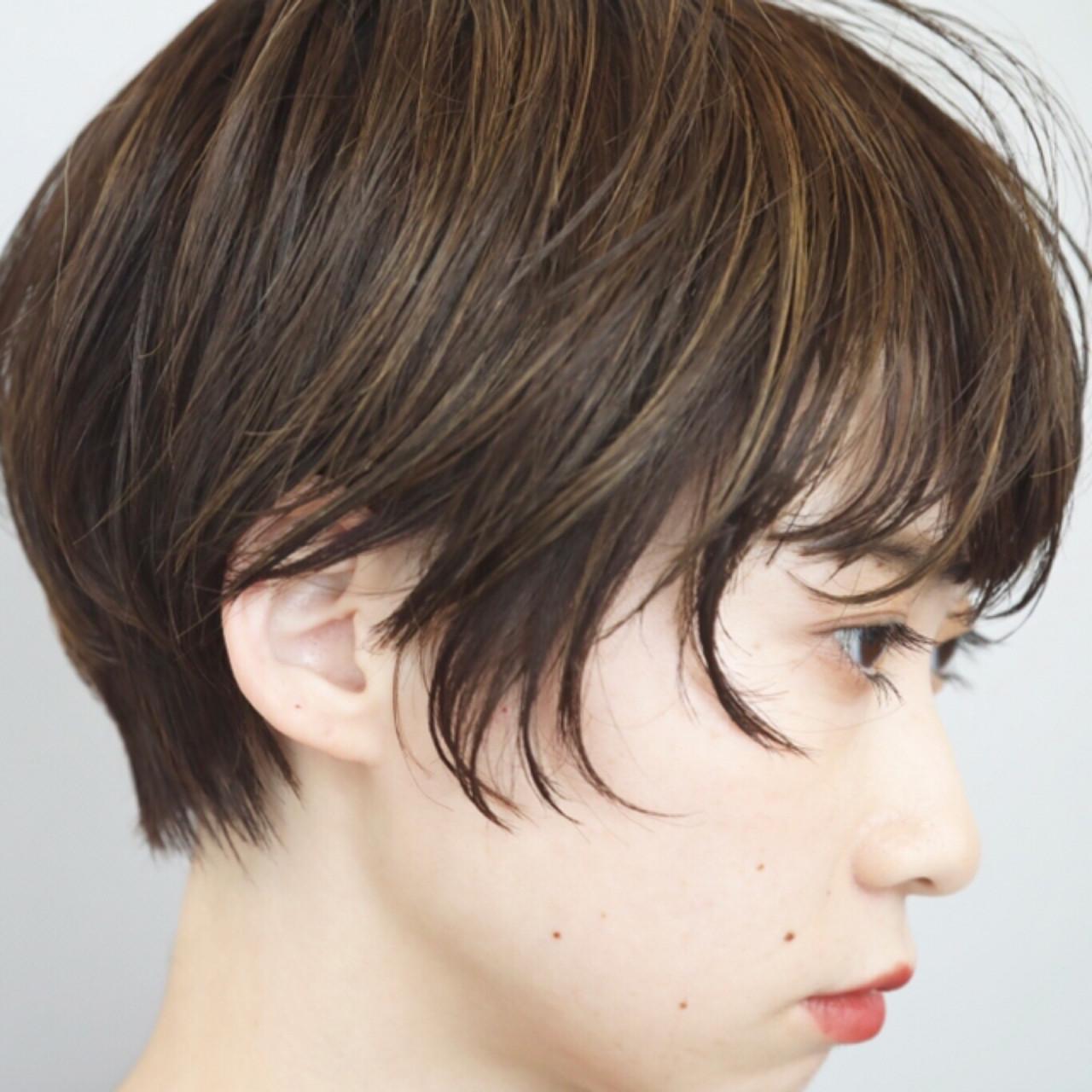 ナチュラル ショートボブ ハイライト デート ヘアスタイルや髪型の写真・画像