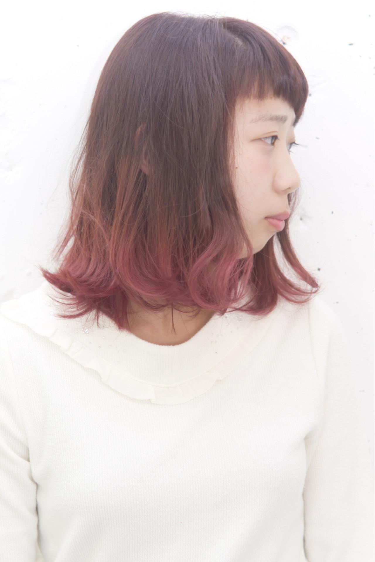 外国人風 ストリート グラデーションカラー パープル ヘアスタイルや髪型の写真・画像
