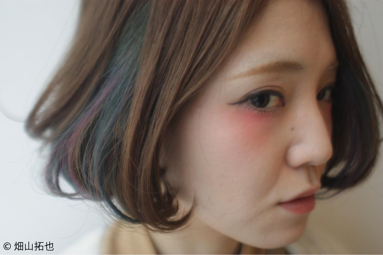 ダブルカラー インナーカラー アッシュ ボブ ヘアスタイルや髪型の写真・画像   畑山拓也 / Baco.