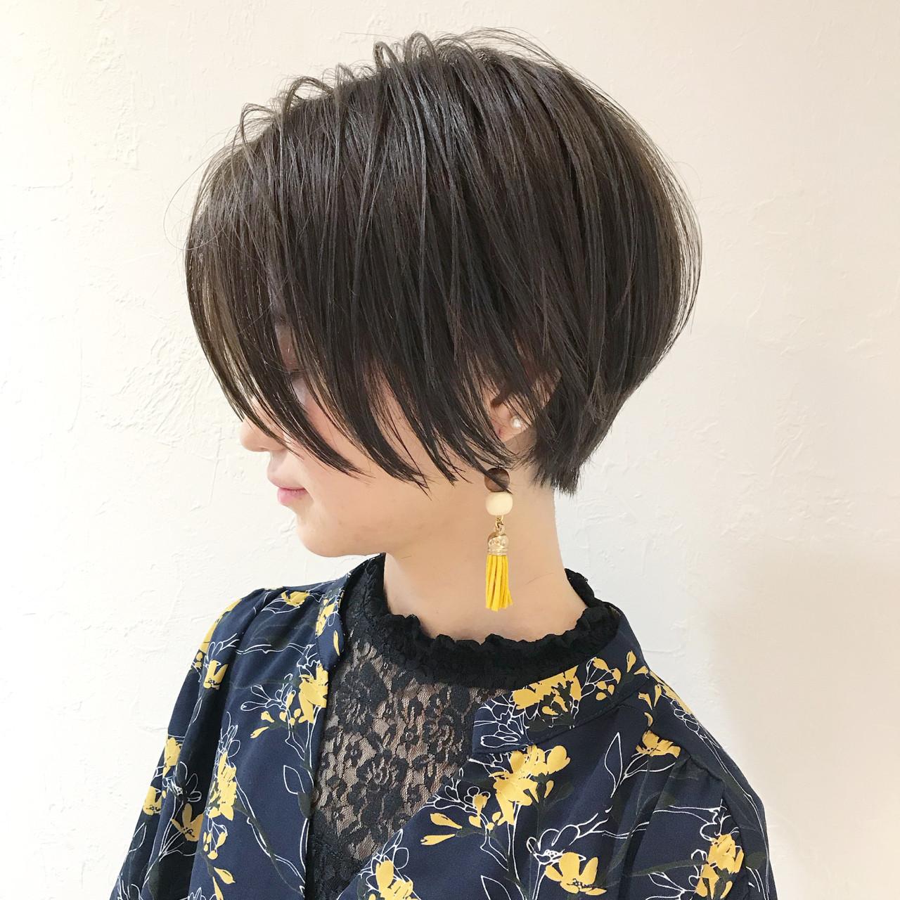 ショートボブ グレージュ 似合わせ ショート ヘアスタイルや髪型の写真・画像