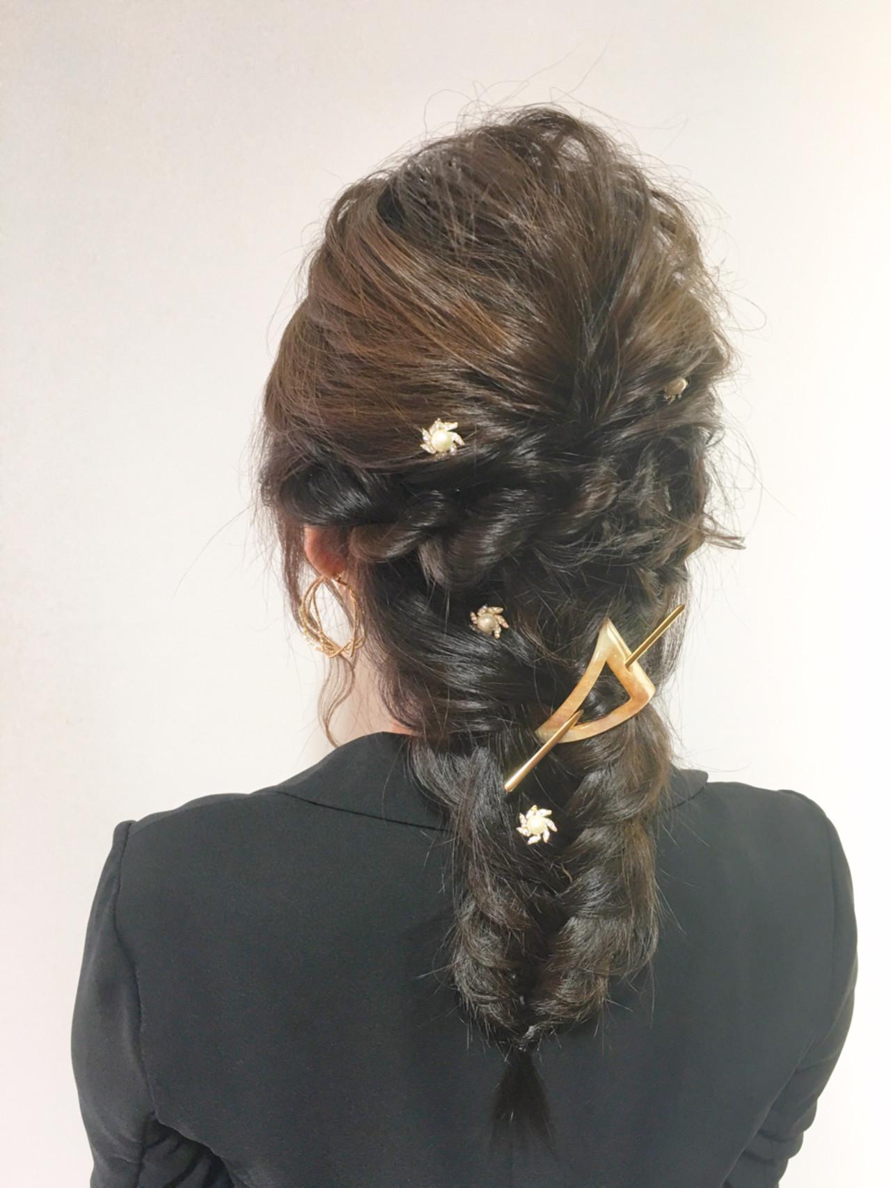 ヘアアレンジ 大人女子 セミロング 編み込み ヘアスタイルや髪型の写真・画像 | 山口 卓哉/earth北浦和店 / Hair&Make EARTH北浦和店