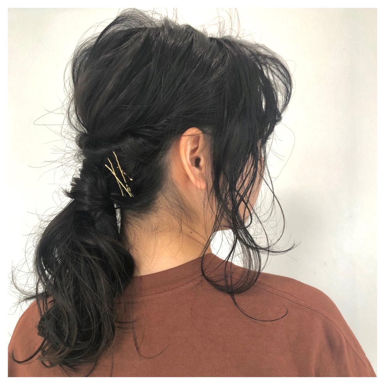 ヘアアレンジ セミロング 大人かわいい ナチュラル ヘアスタイルや髪型の写真・画像